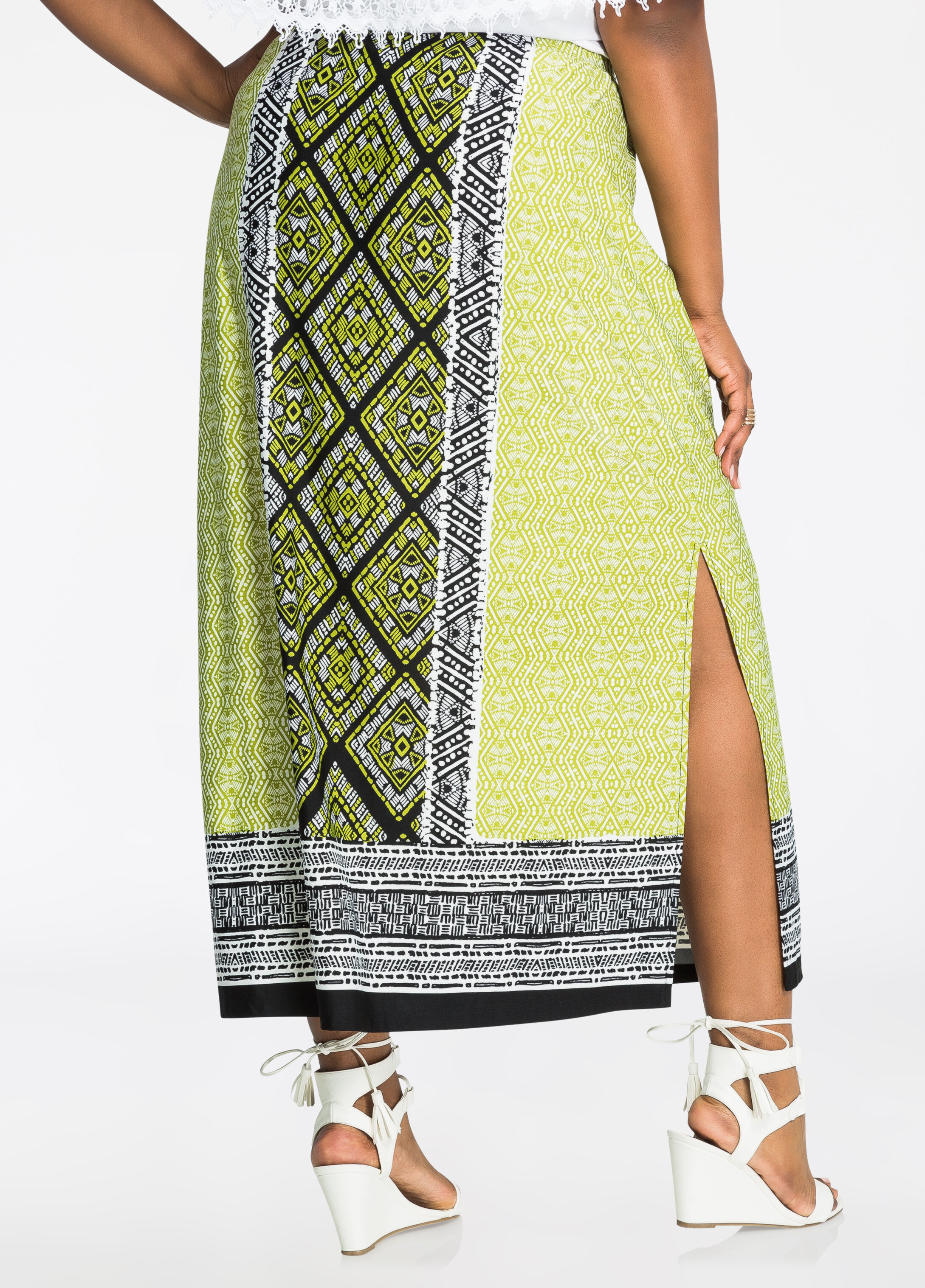 Tribal Print Border Maxi Skirt