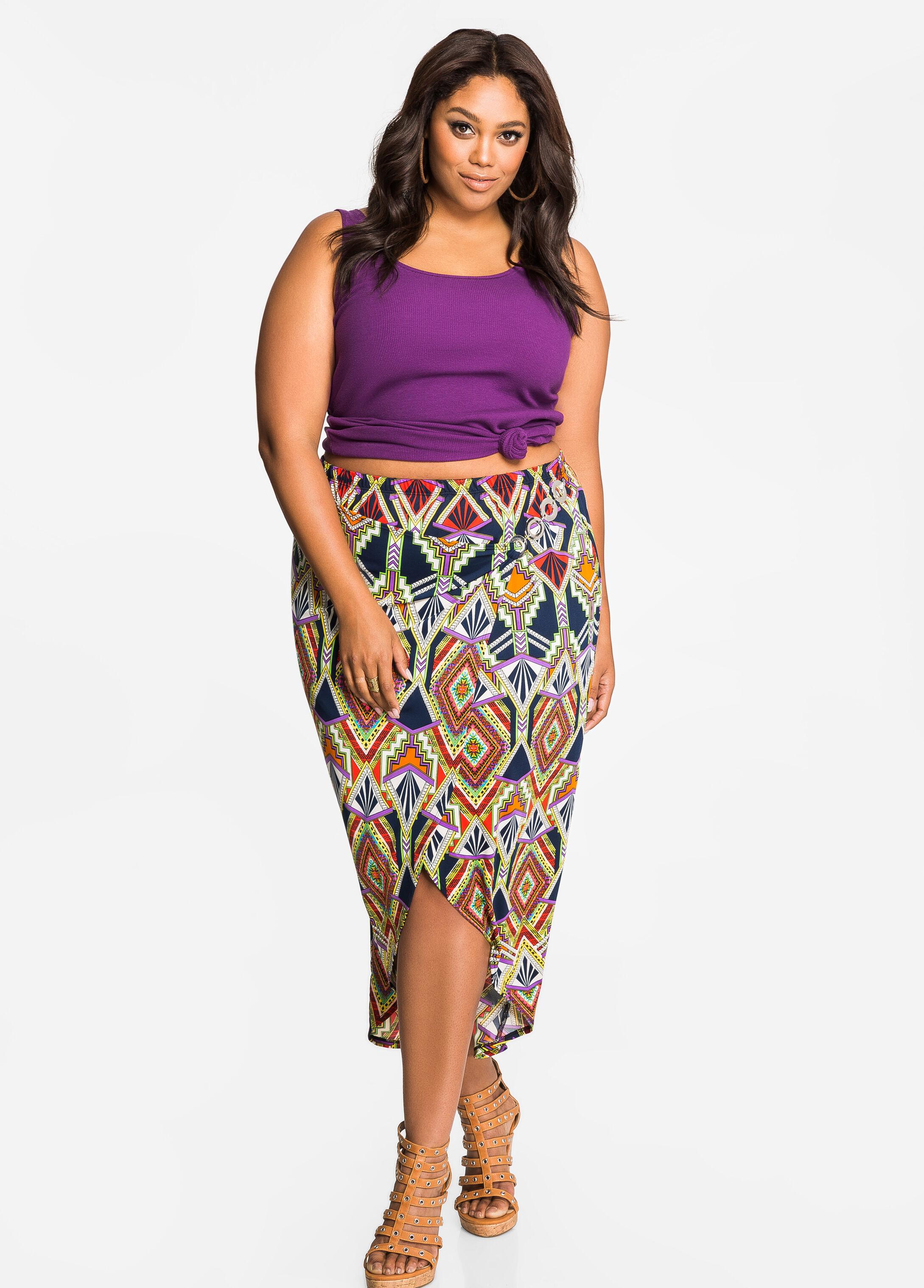 Buckle Side Tribal Print Split Front Skirt