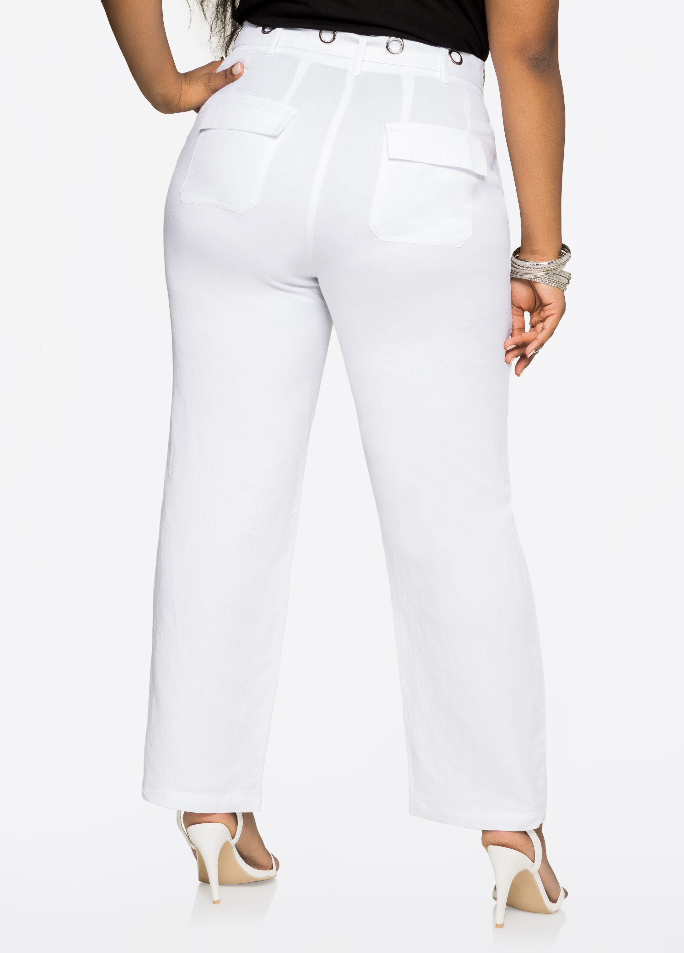 Grommet Belt Linen Pants