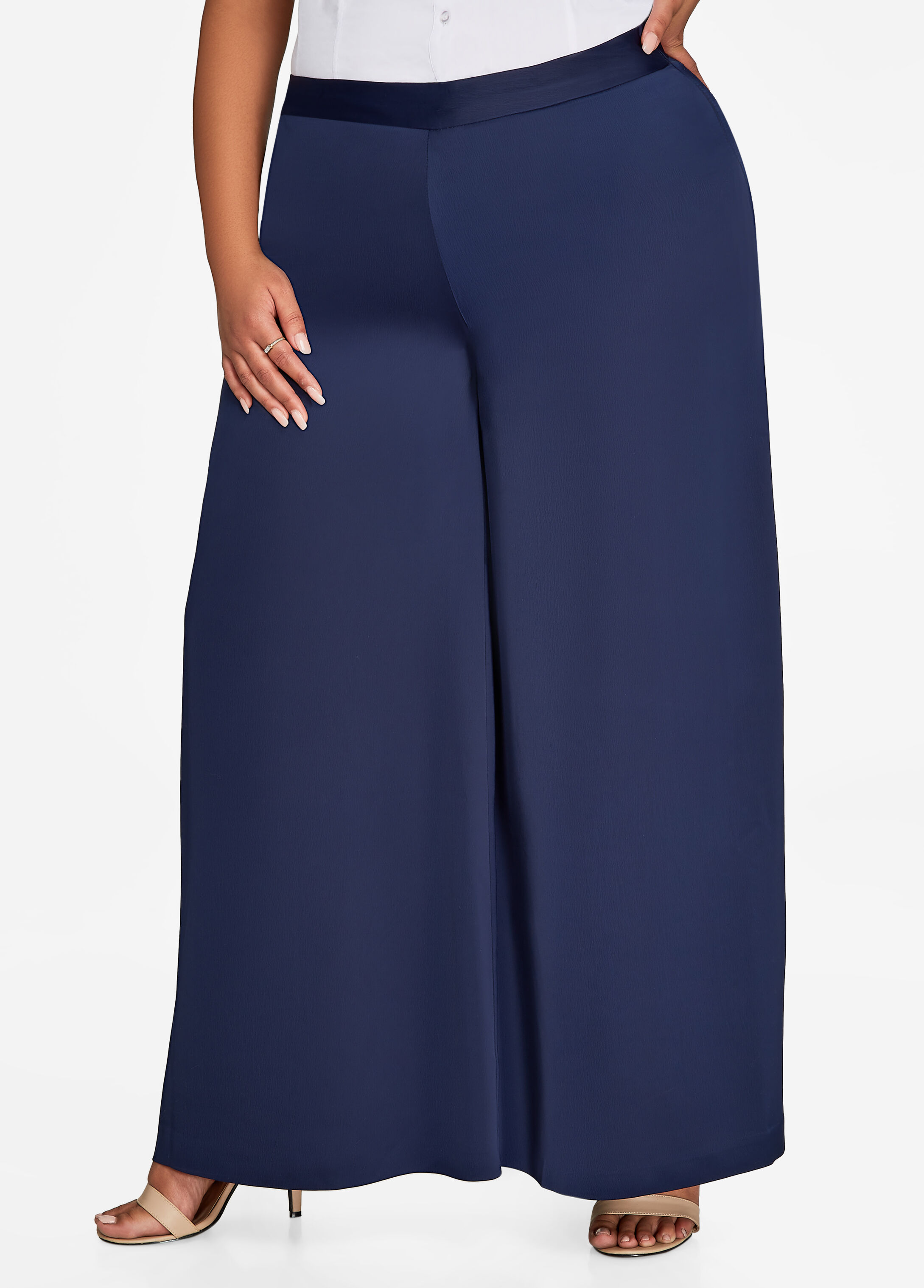Pull-On Satin Wide Leg Dress Pant