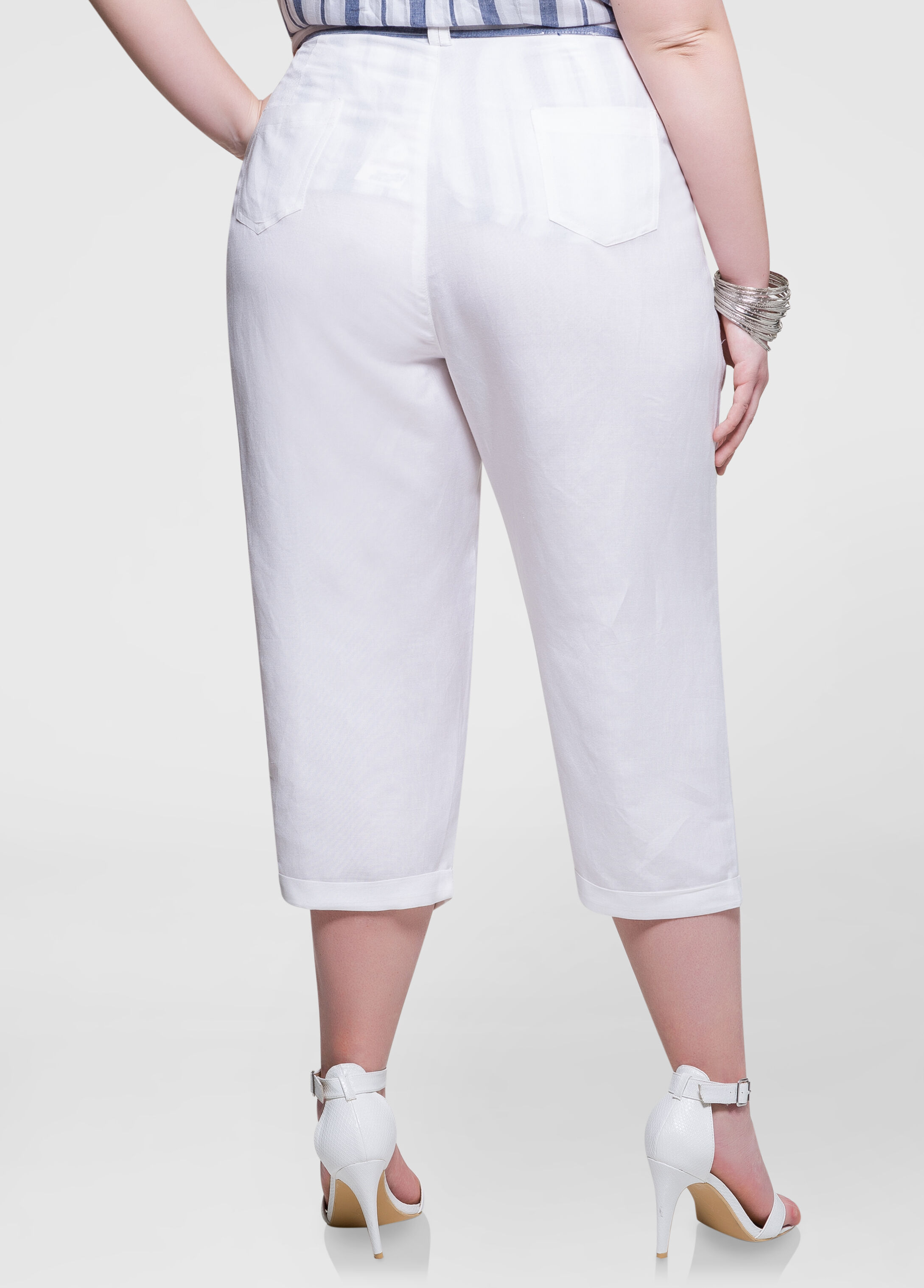 Belted Wide Leg Cropped Pants