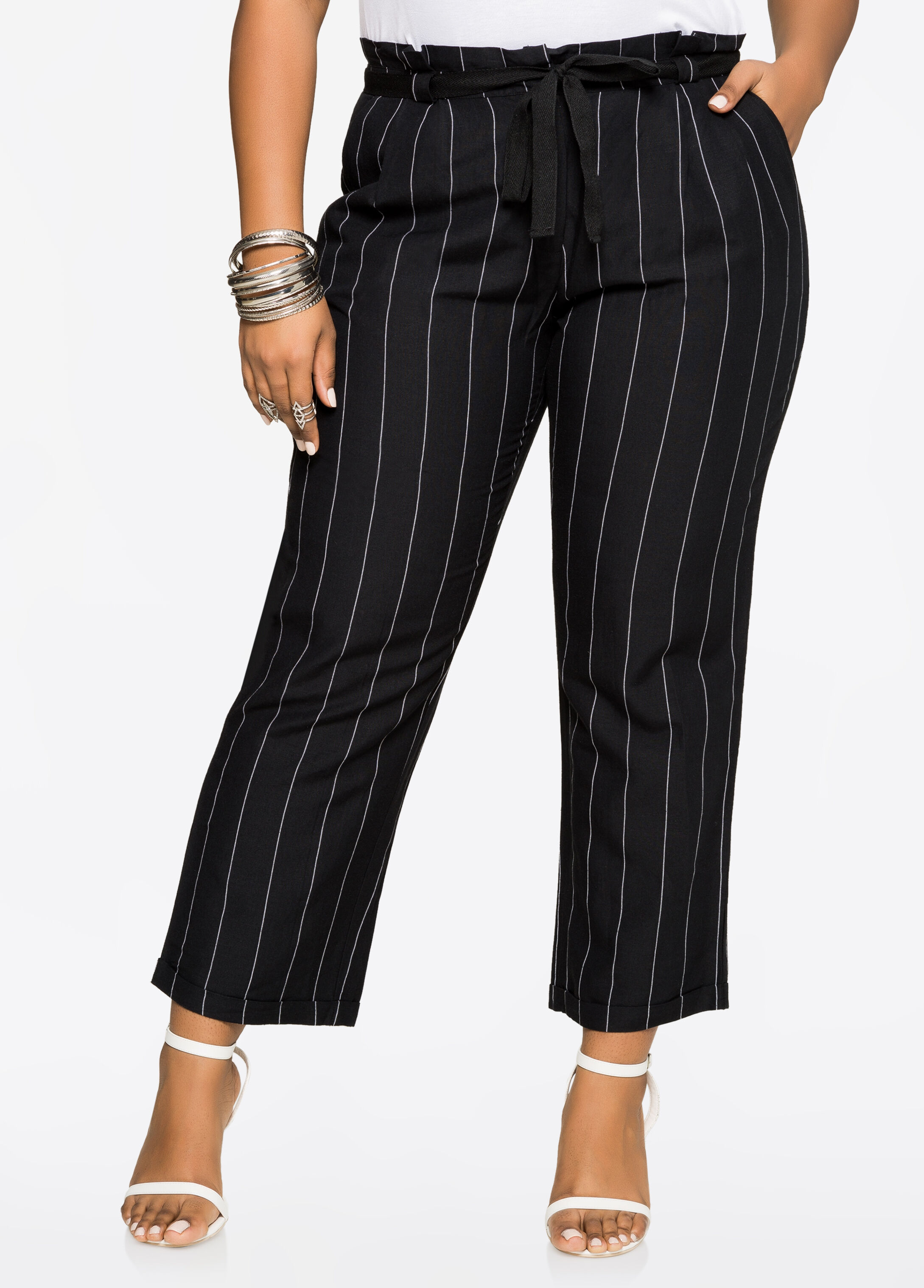 Stripe Paper Bag Waist Linen Pants