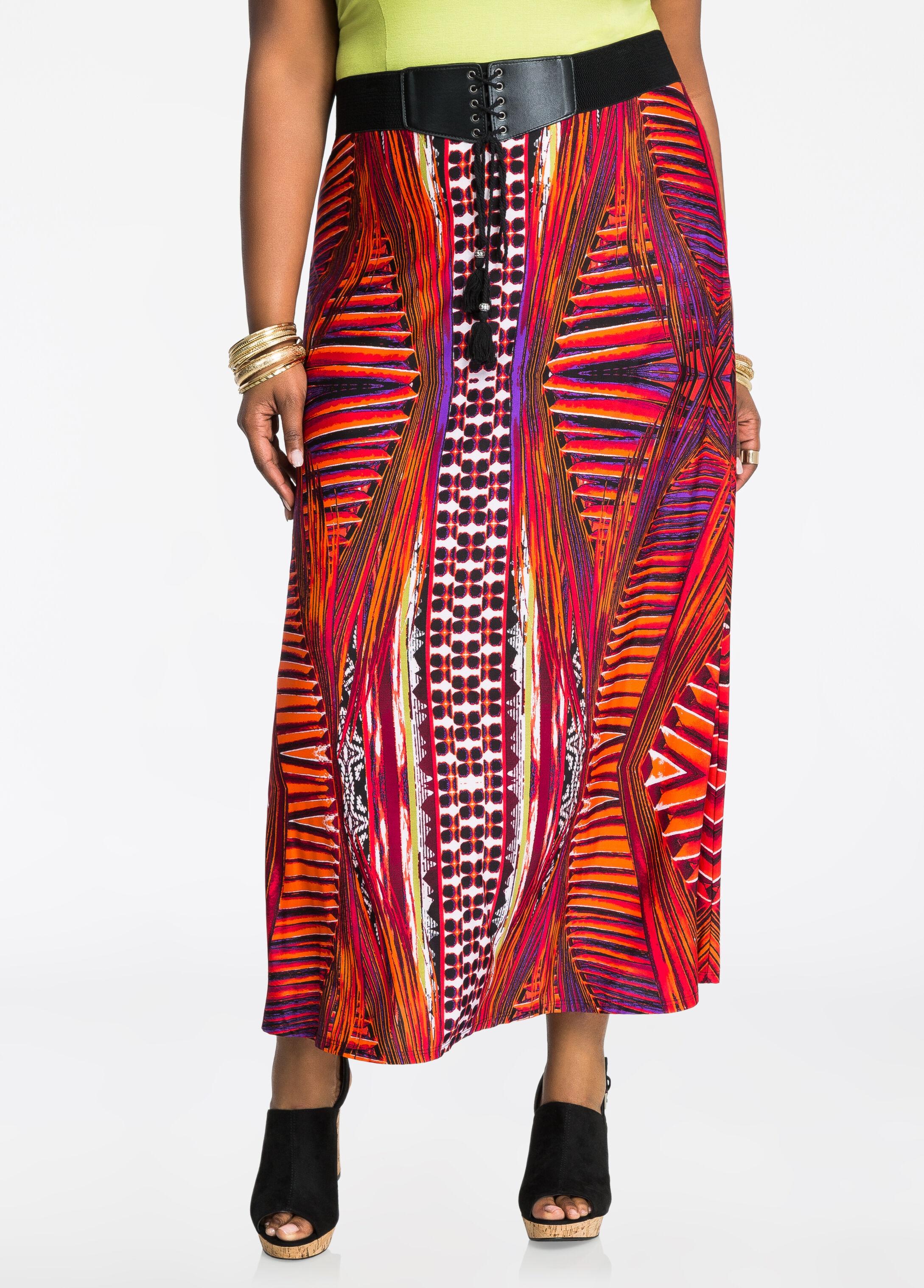 Corset Waist Tribal Print Maxi Skirt