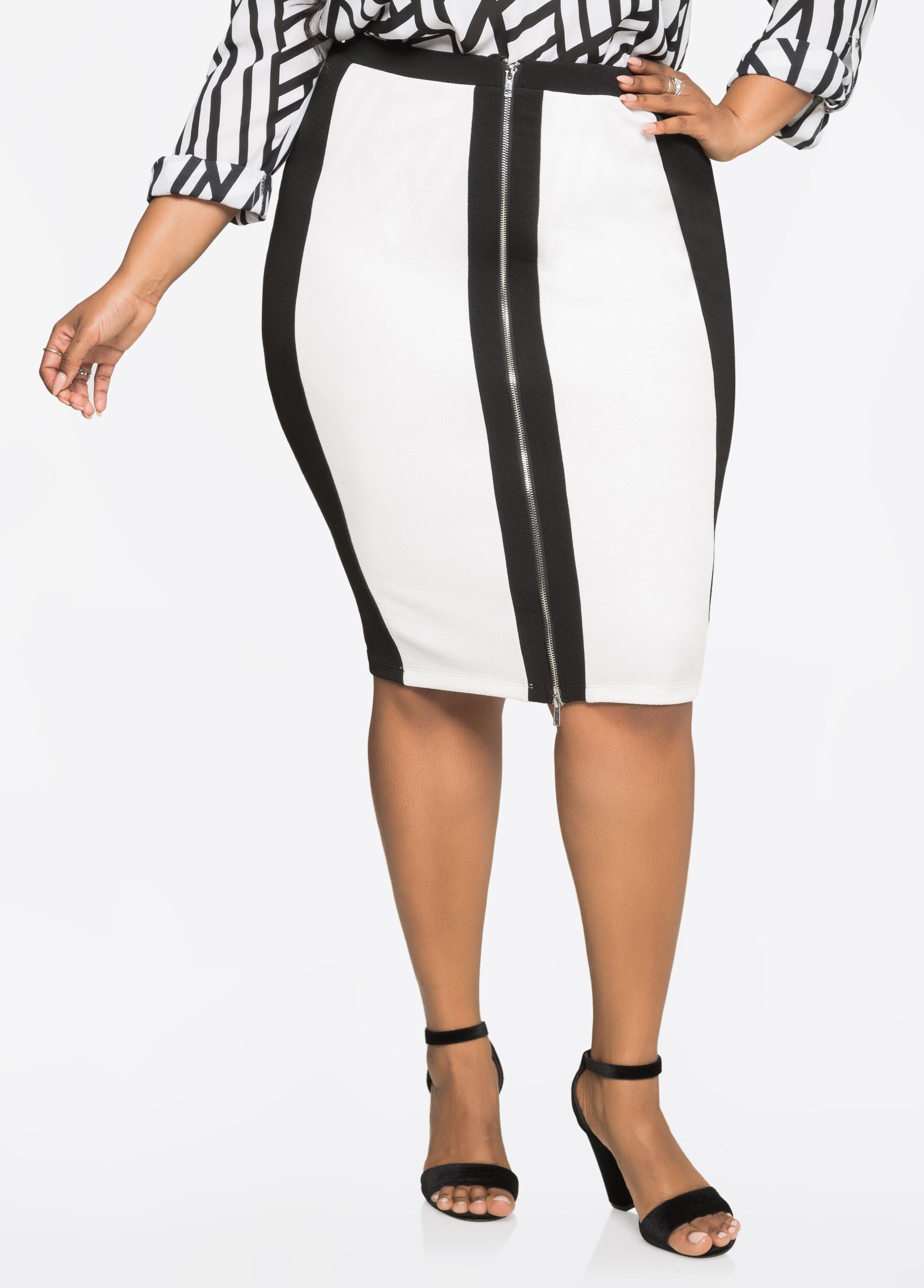 Zip Front Colorblock Midi Skirt
