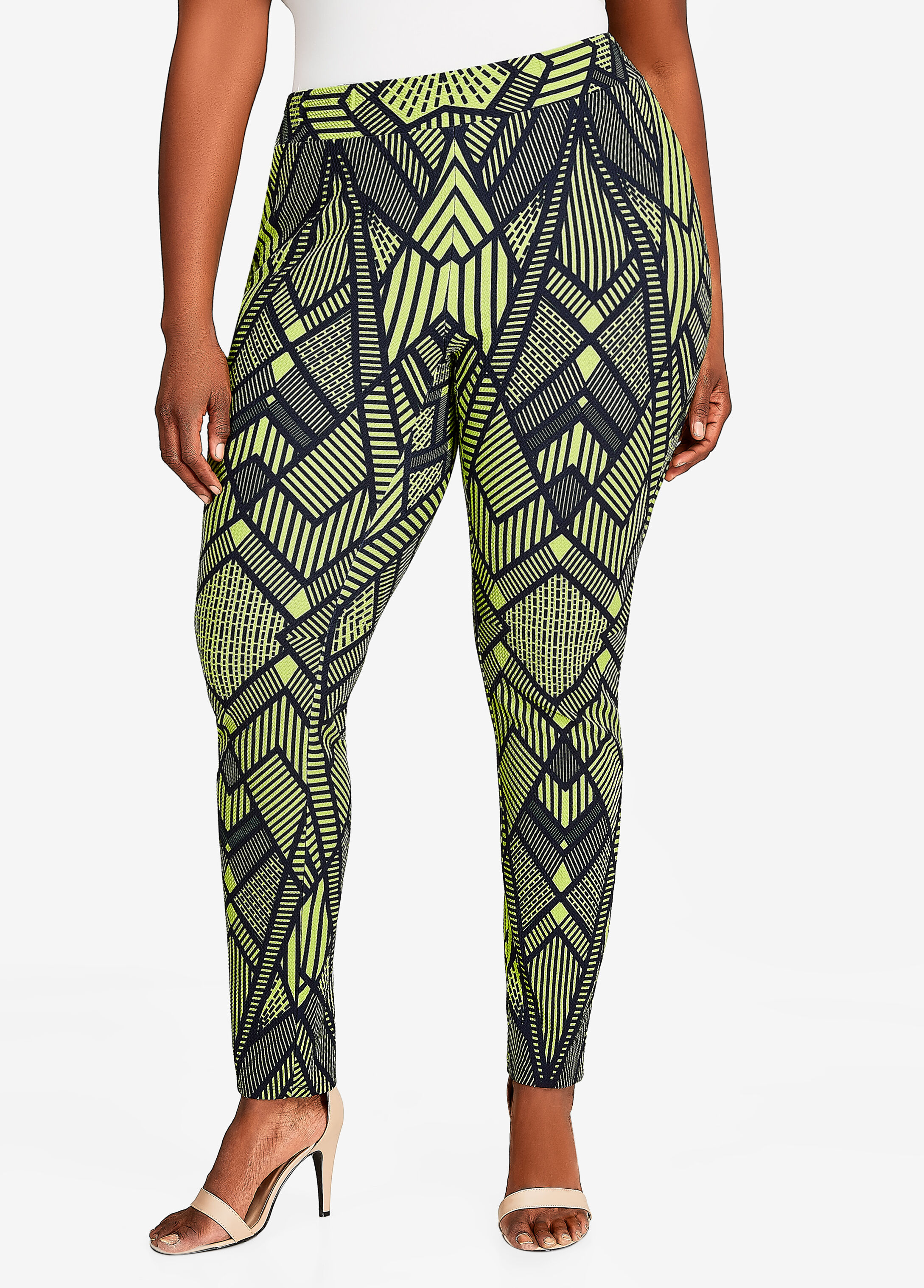 Geo Print Skinny Pant Macaw Green - Bottoms