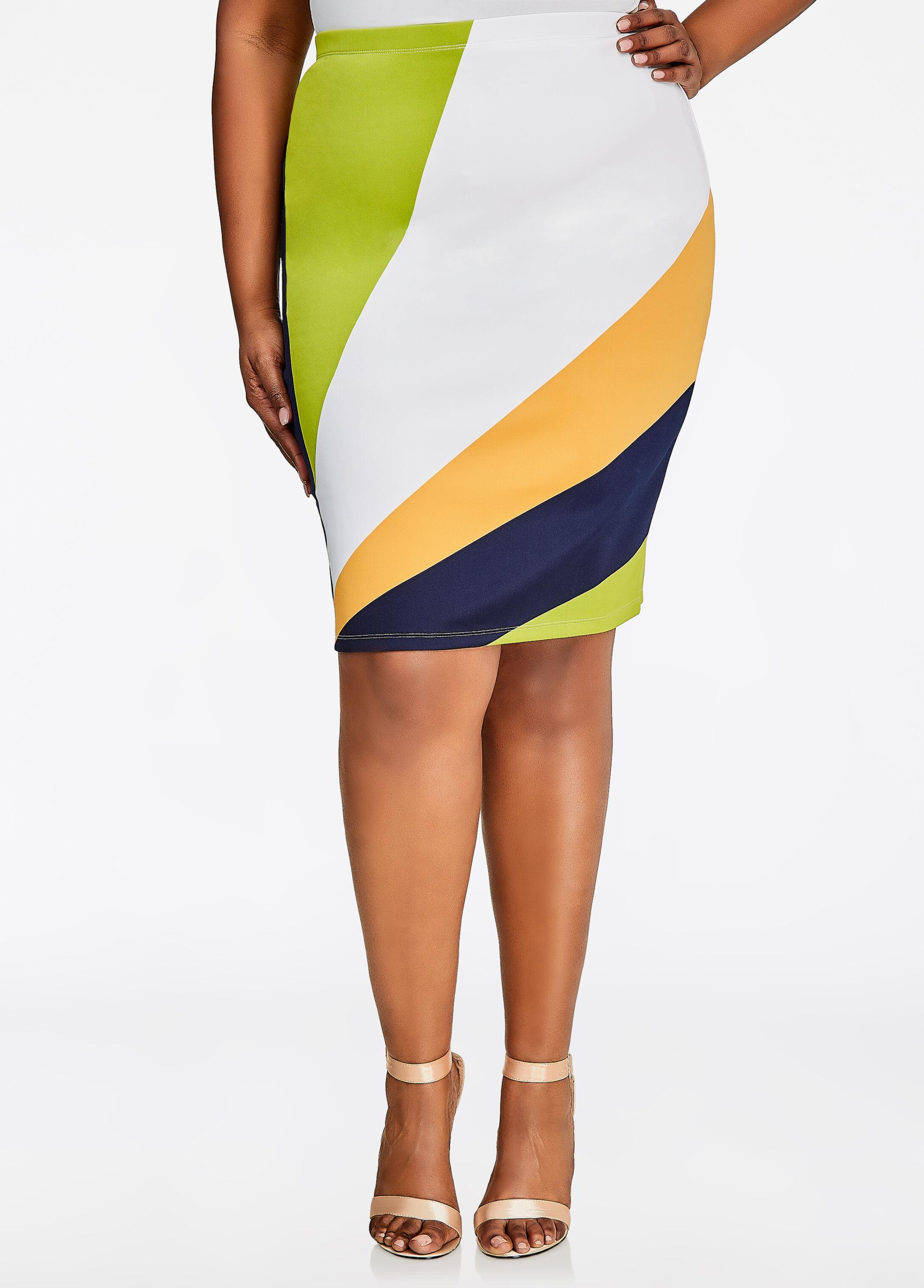 Diagonal Stripe Print Pencil Skirt