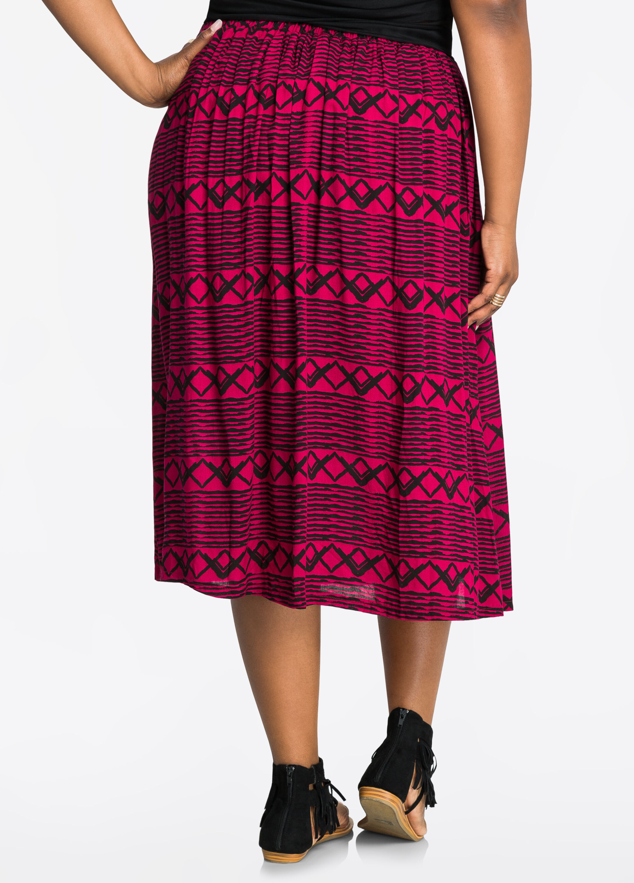 Pleated Tribal Print Cotton Skirt