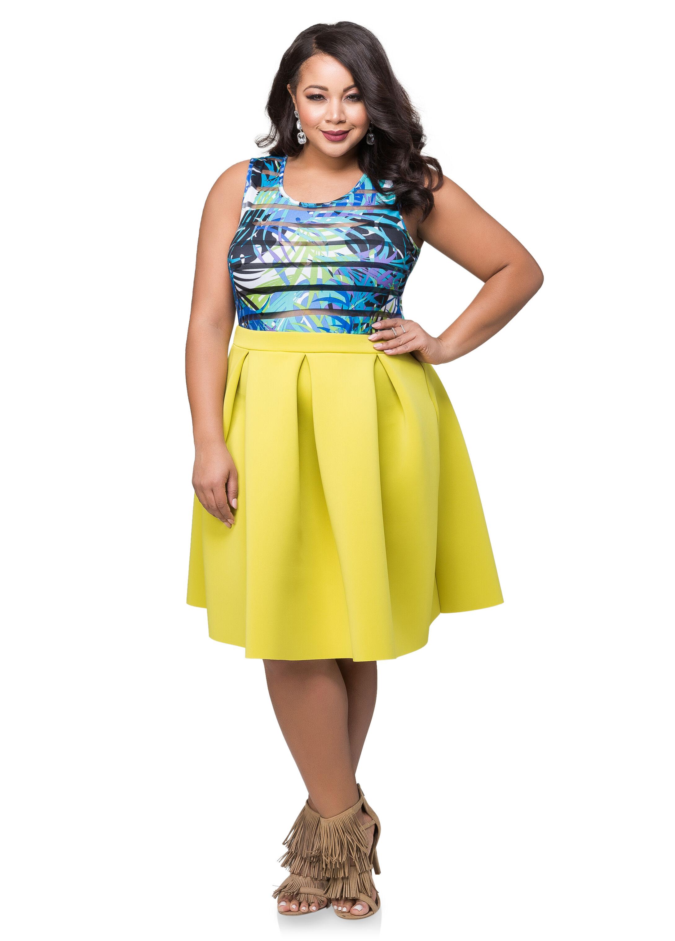 Box Pleat Neoprene Skirt