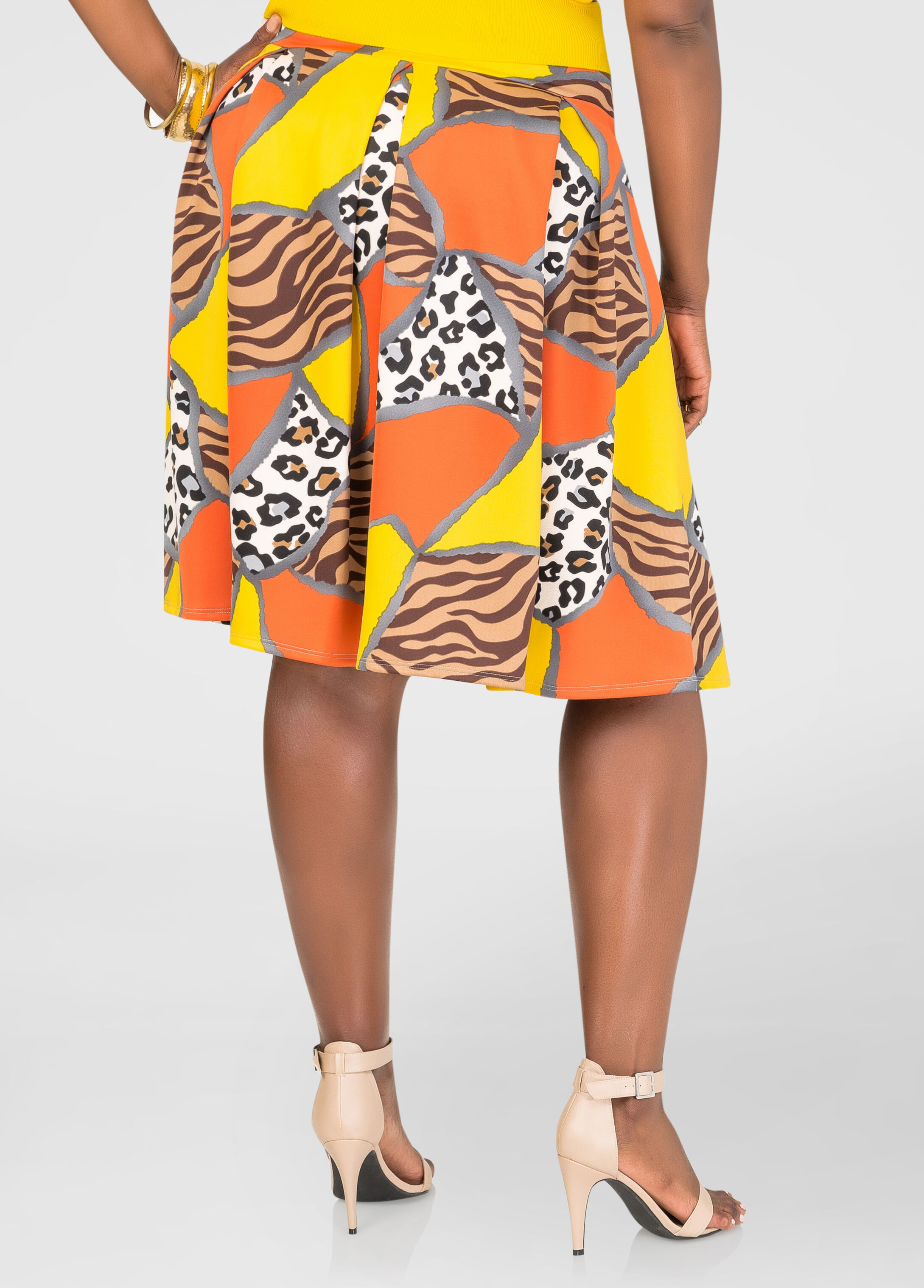 Mixed Print Box Pleat Skirt