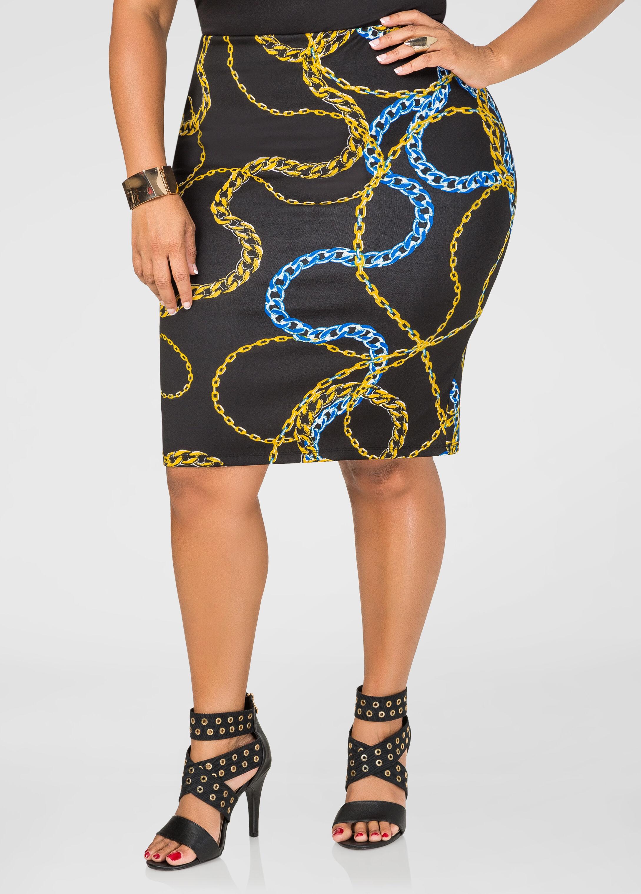 Status Print Pencil Skirt