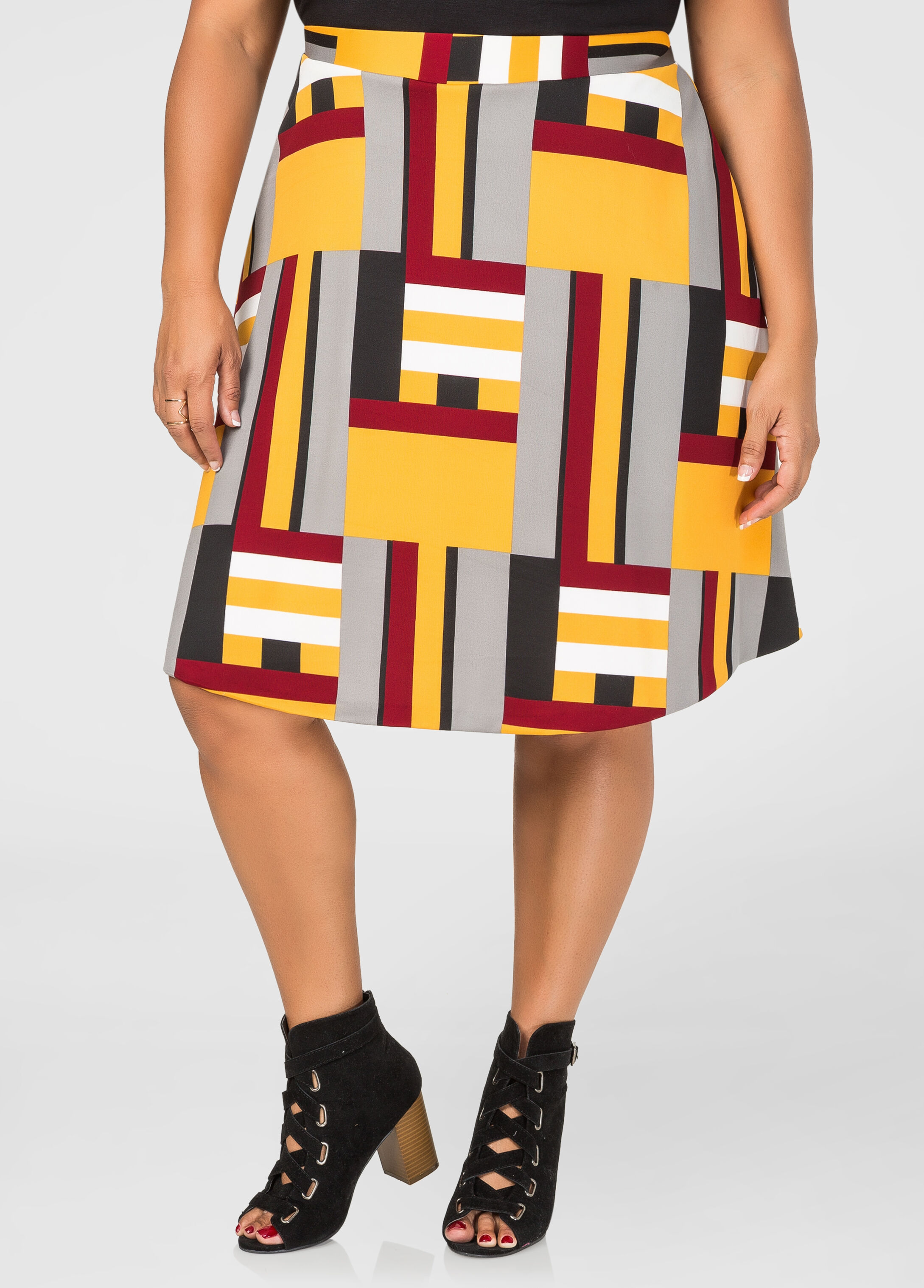 Colorblock Flare Skirt