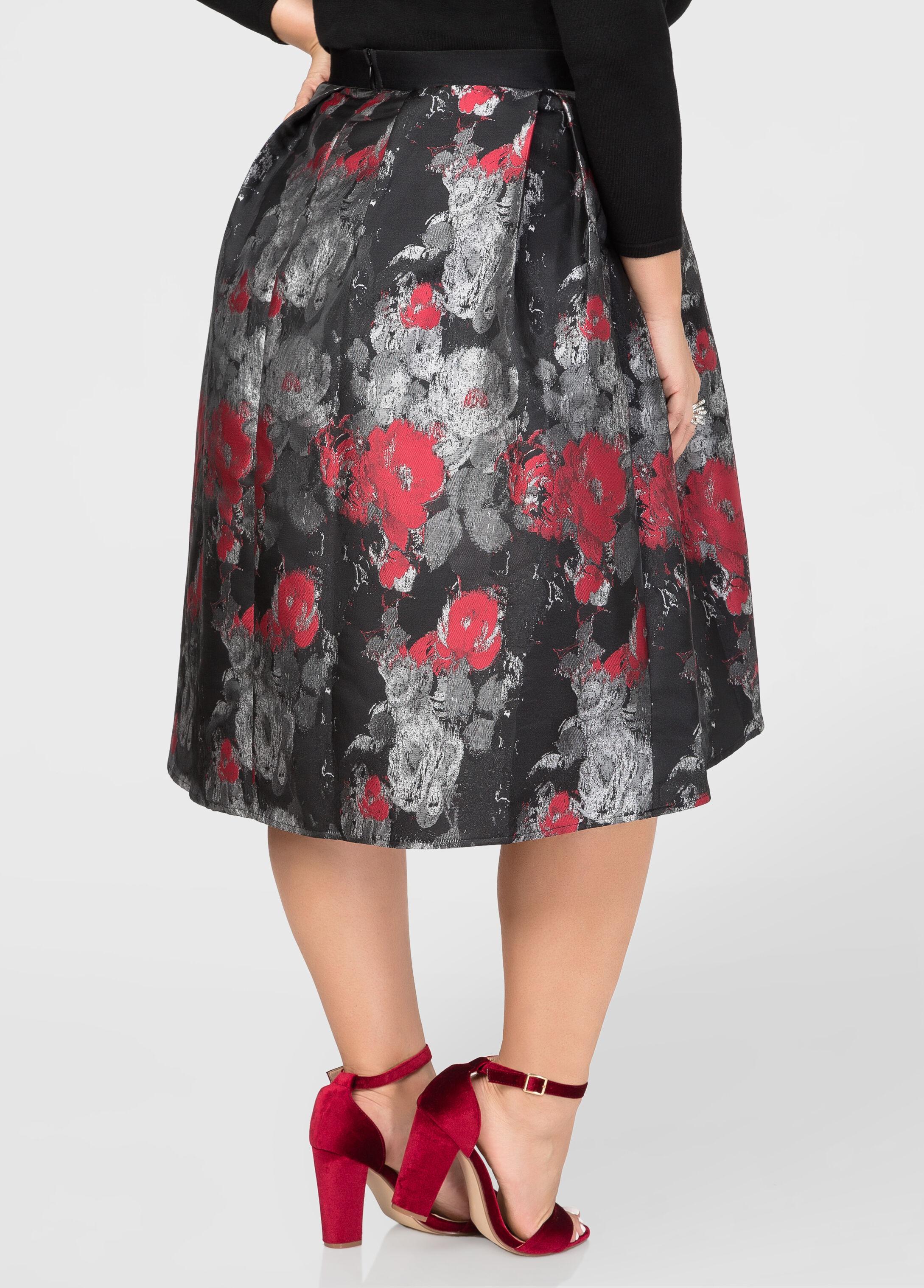 Hi-Lo Winter Floral Skirt