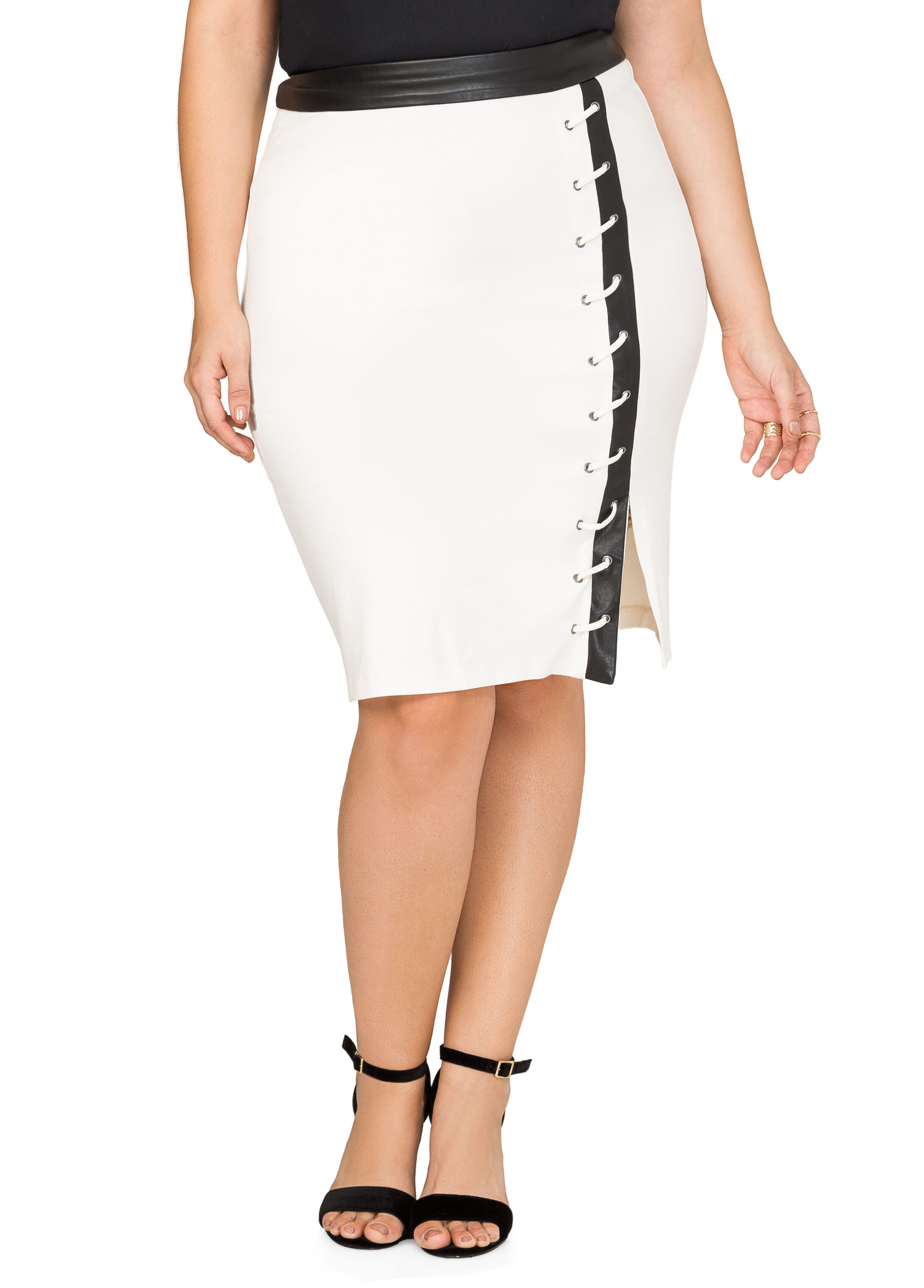 Faux Leather Trim Front Slit Skirt