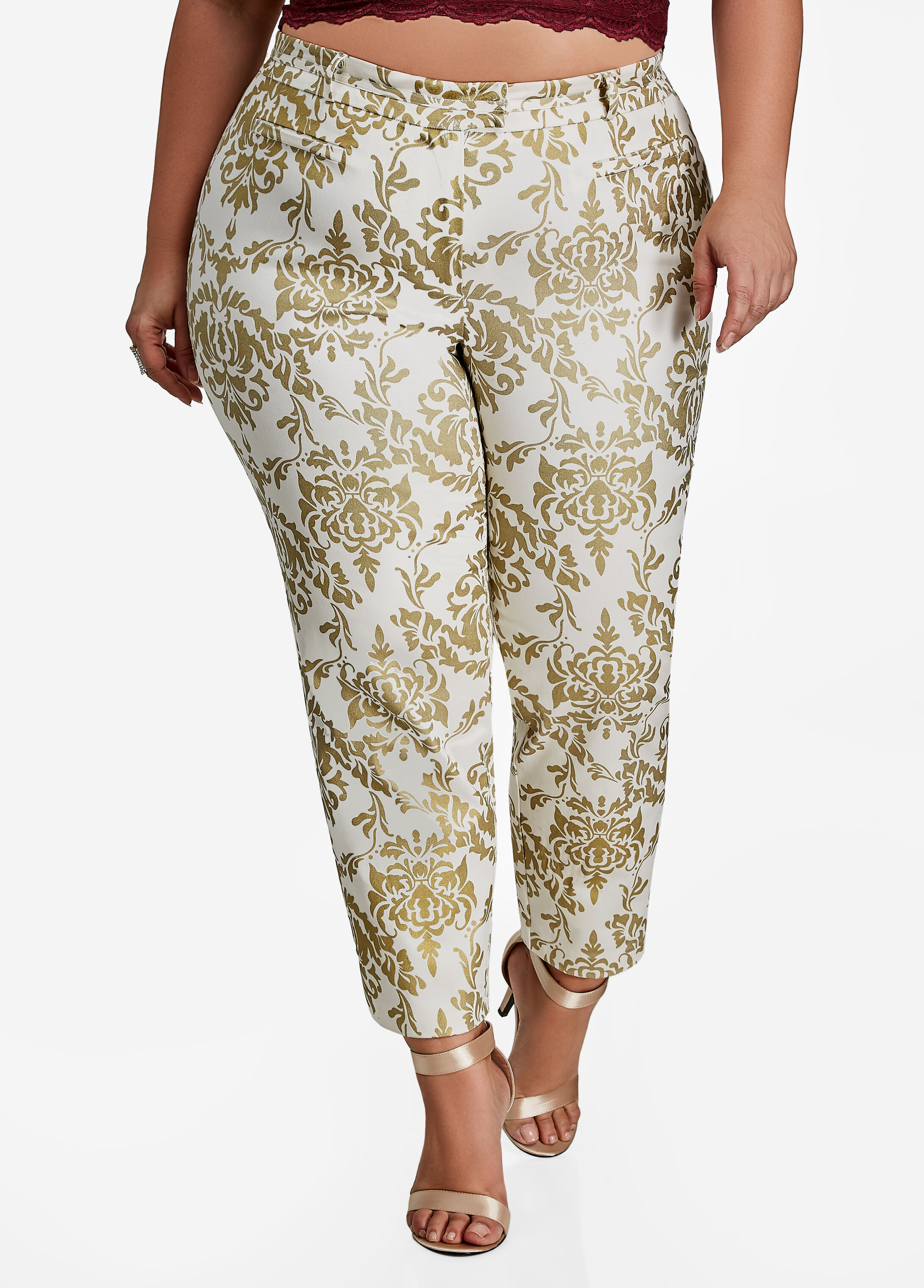 Skinny Pant With Gold Foil Print