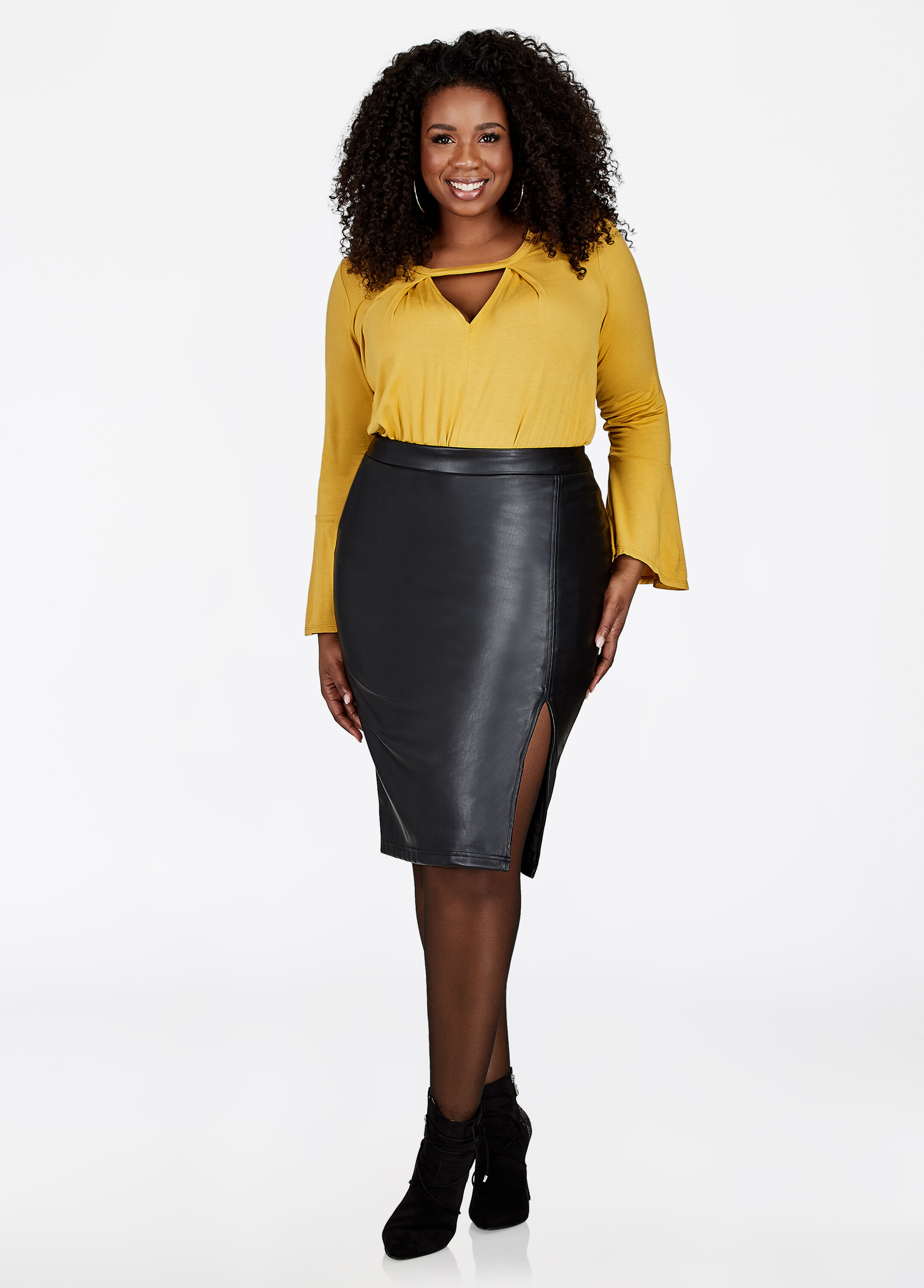 Front Slit Faux Leather Pencil Skirt