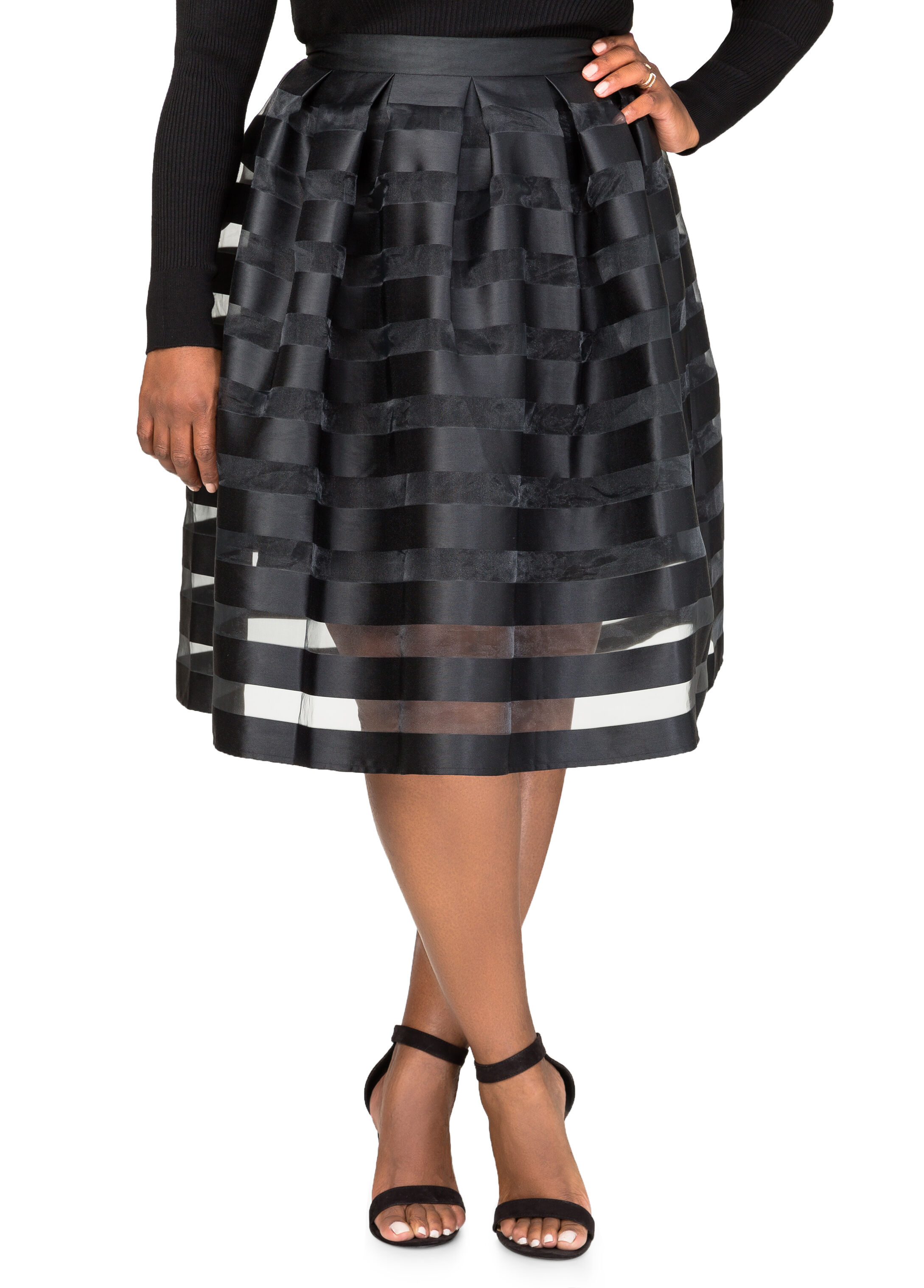 Sheer Stripe Pleat Skirt