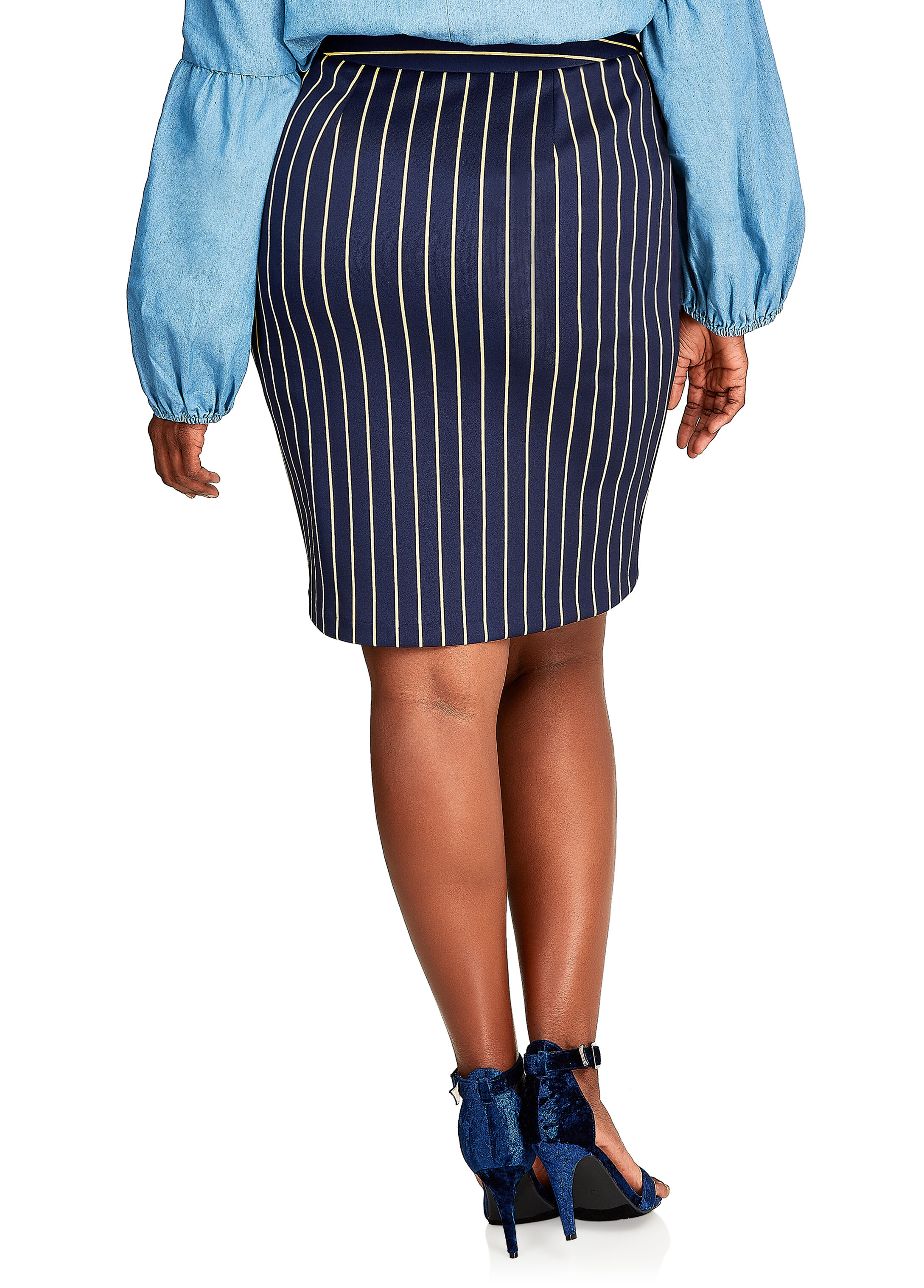 Knee-Length Pinstripe Pencil Skirt