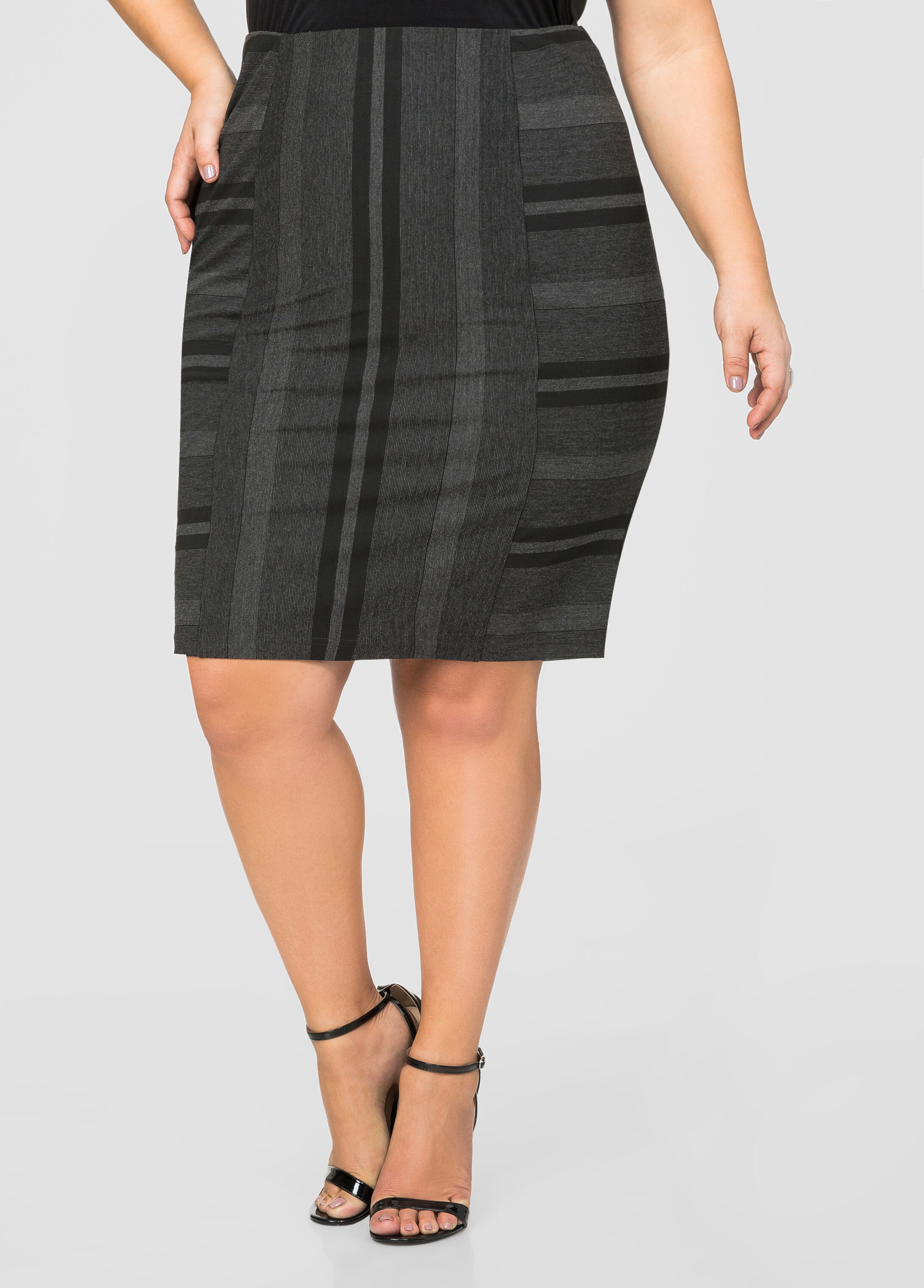 Ottoman Stripe Ponti Pencil Skirt