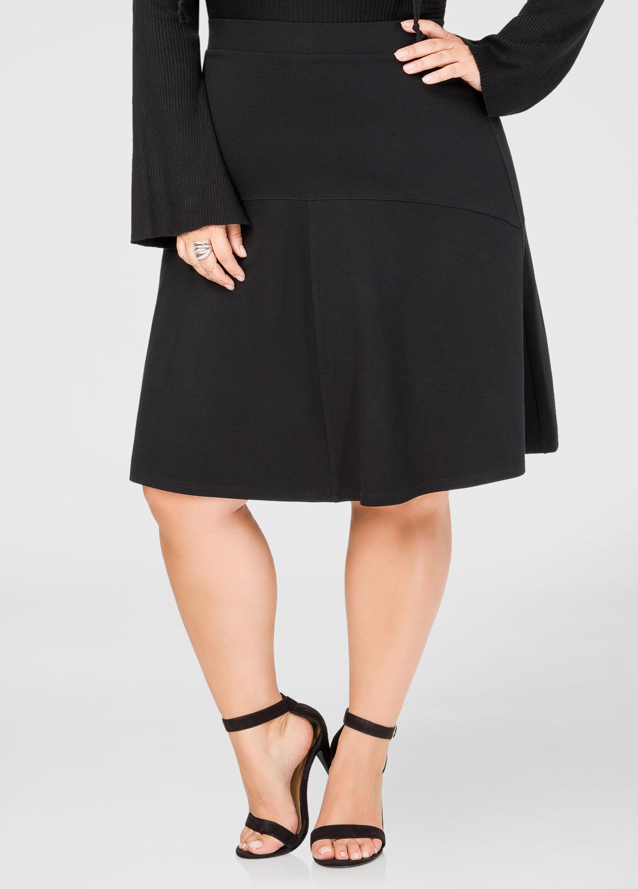 Ponte Fit & Flare Skirt