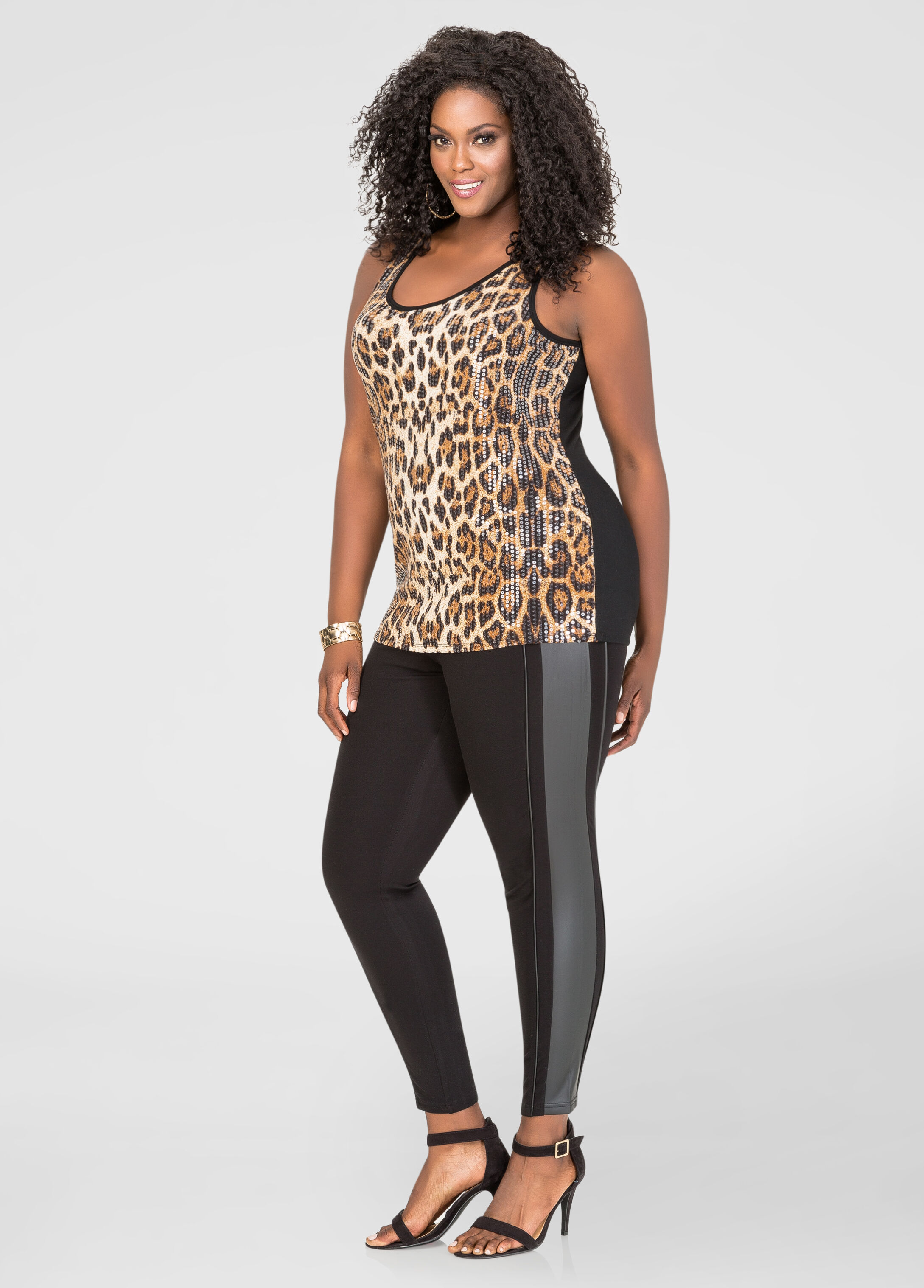 Faux Leather Skinny Ponte Pant