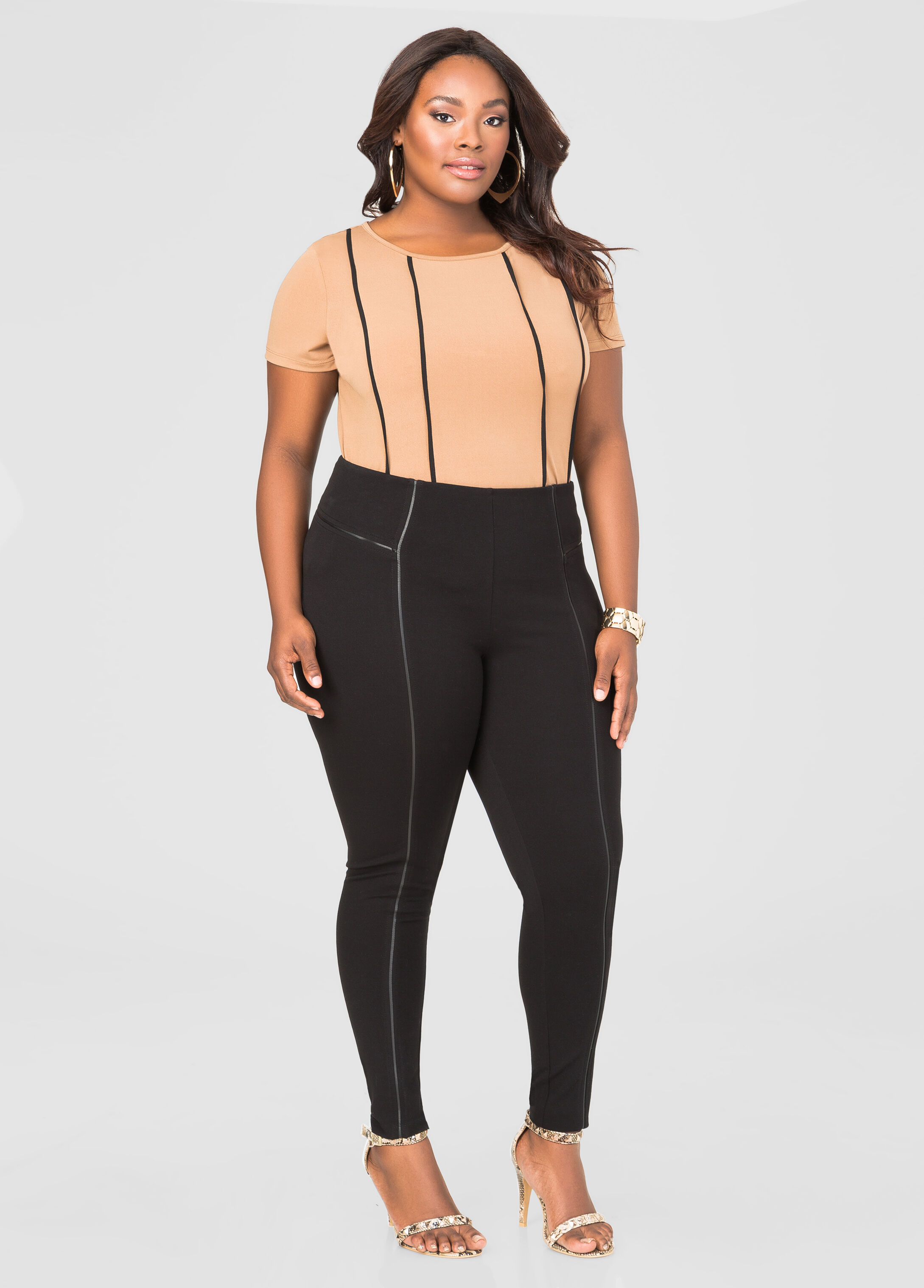 Faux Leather Trim Ponte Pant