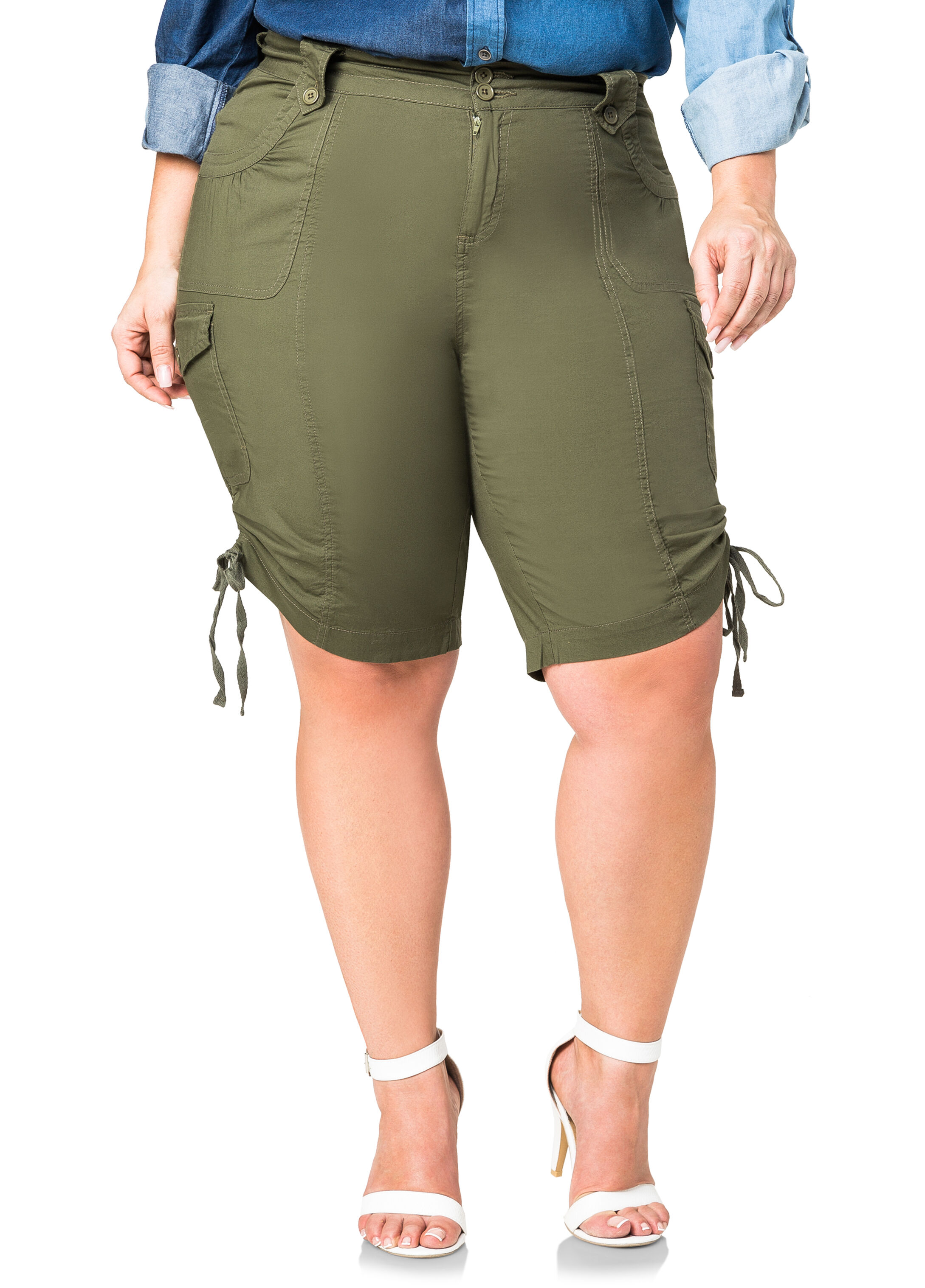 Ruched Side Cargo Shorts