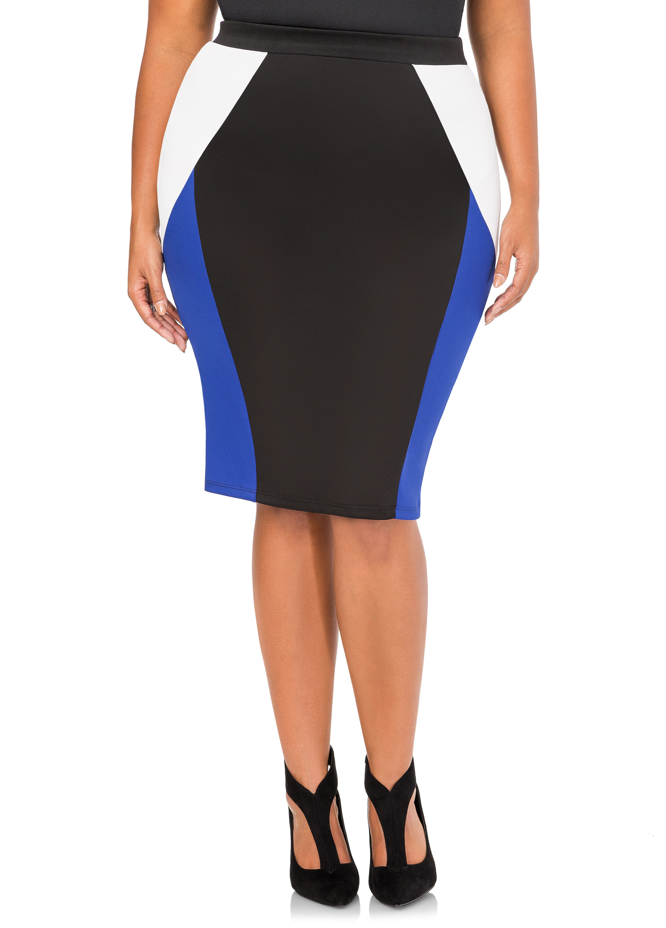 Colorblock Scuba Pencil Skirt