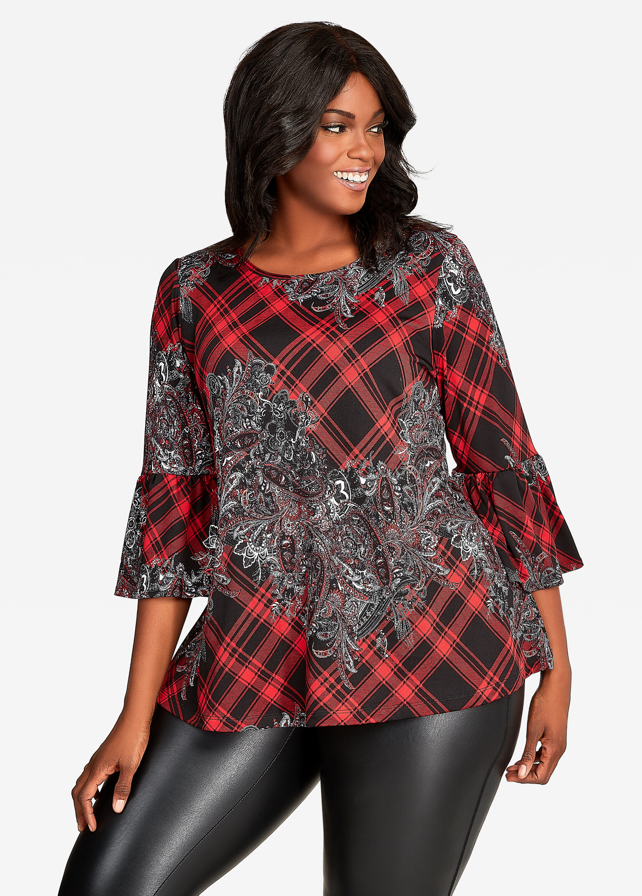Plaid and Floral Print Tunic Top Scooter Red - Tops
