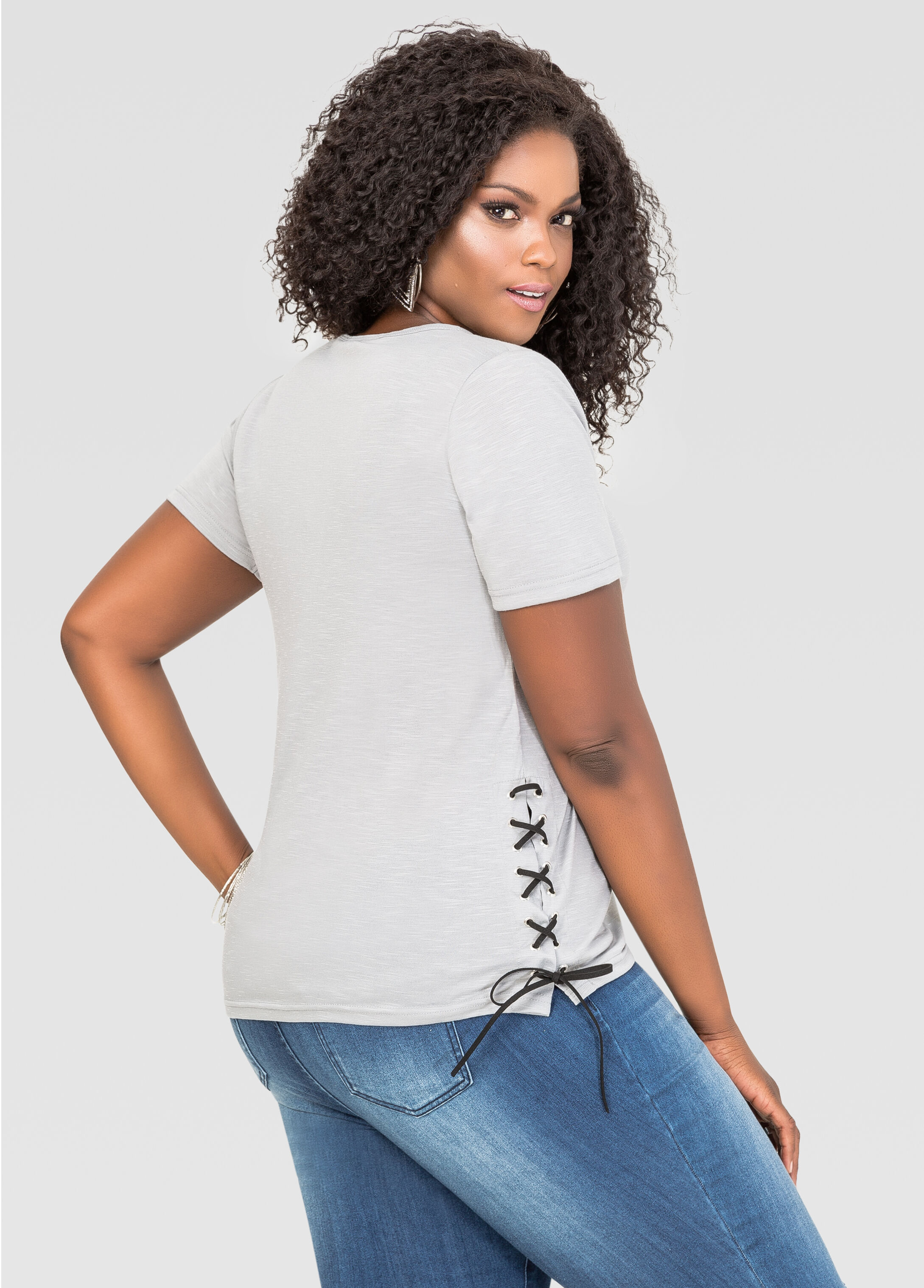 Lace-Up Side Scoop Neck Tee