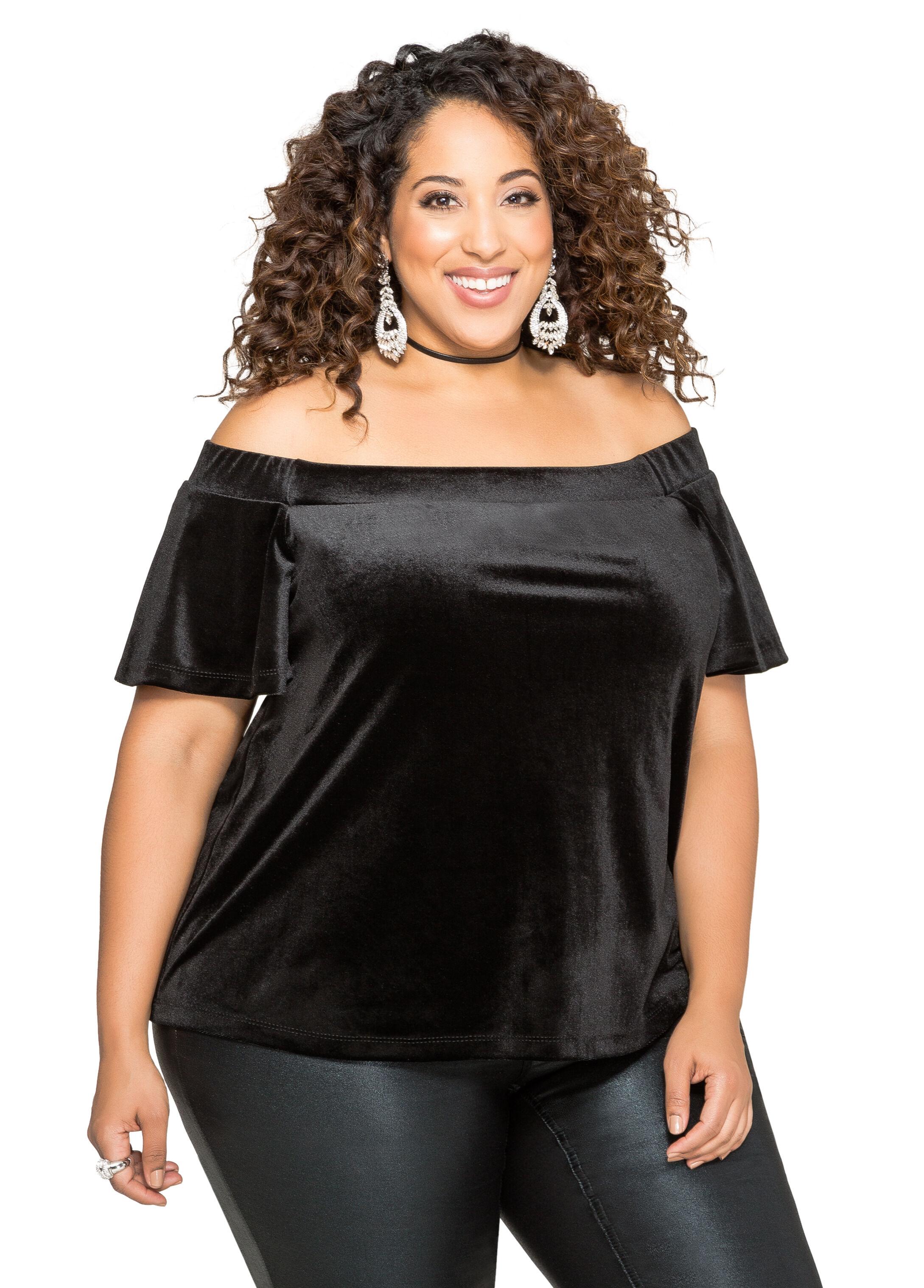 Velvet Off-Shoulder Top