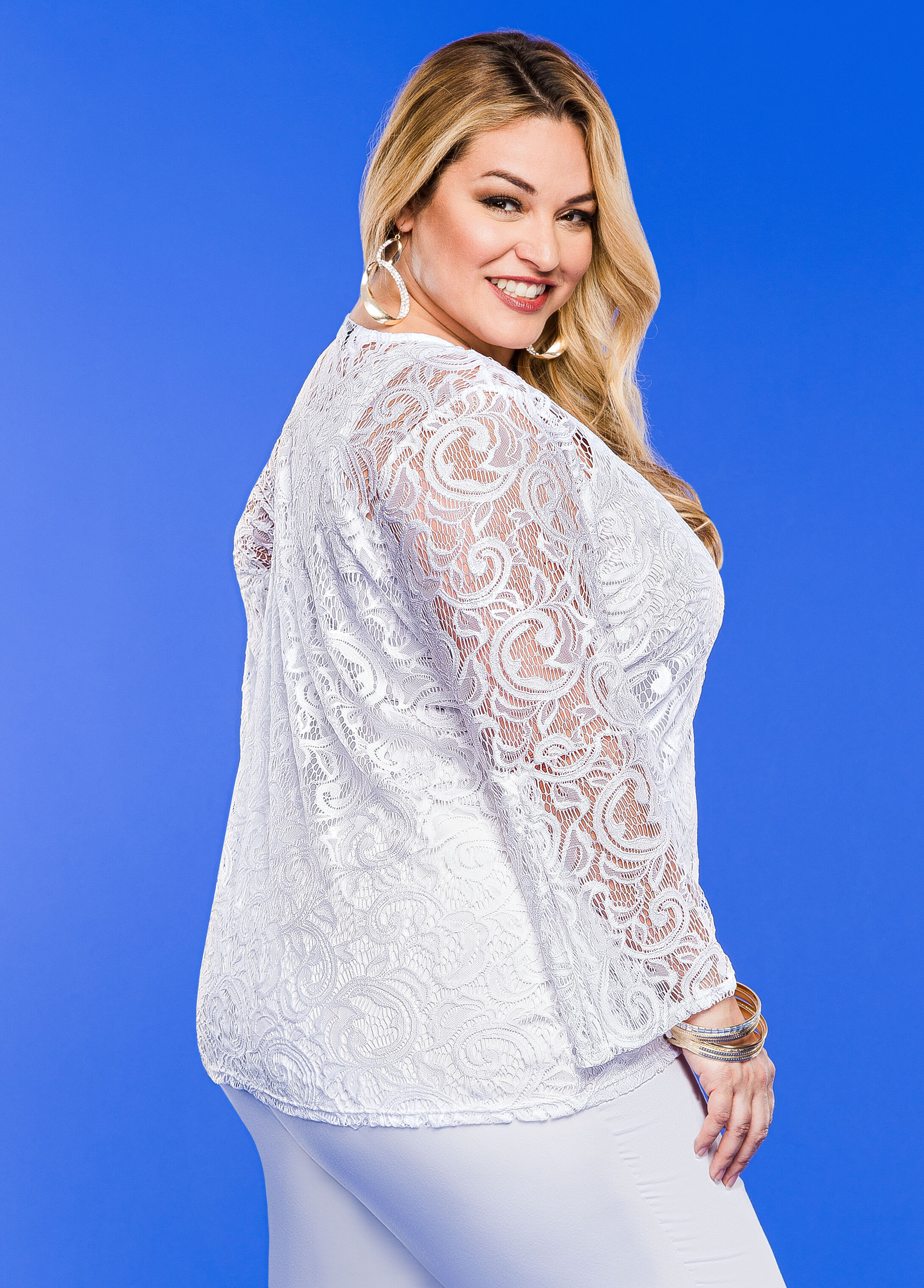 Sheer Lace Bell Sleeve Top