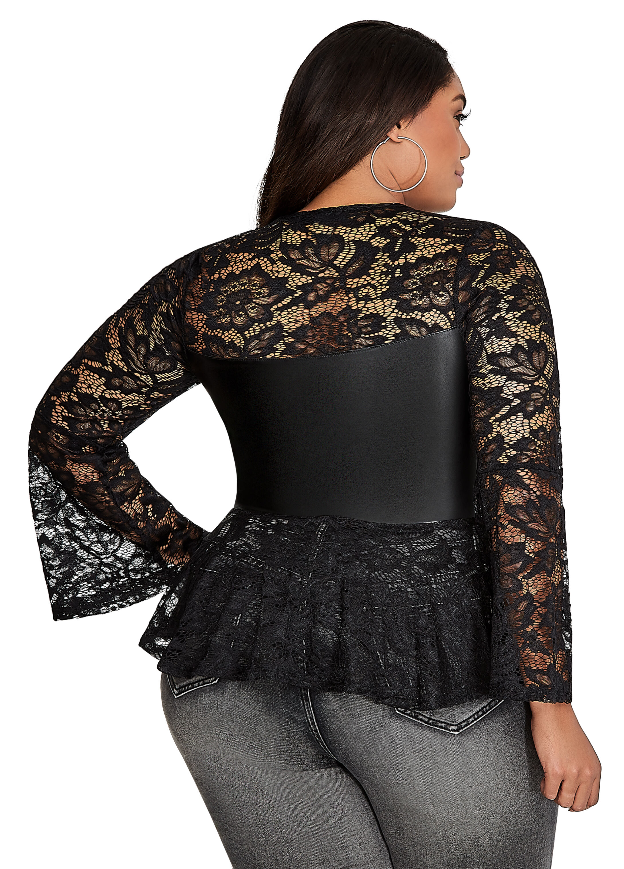 Lace and Pleather Peplum Top