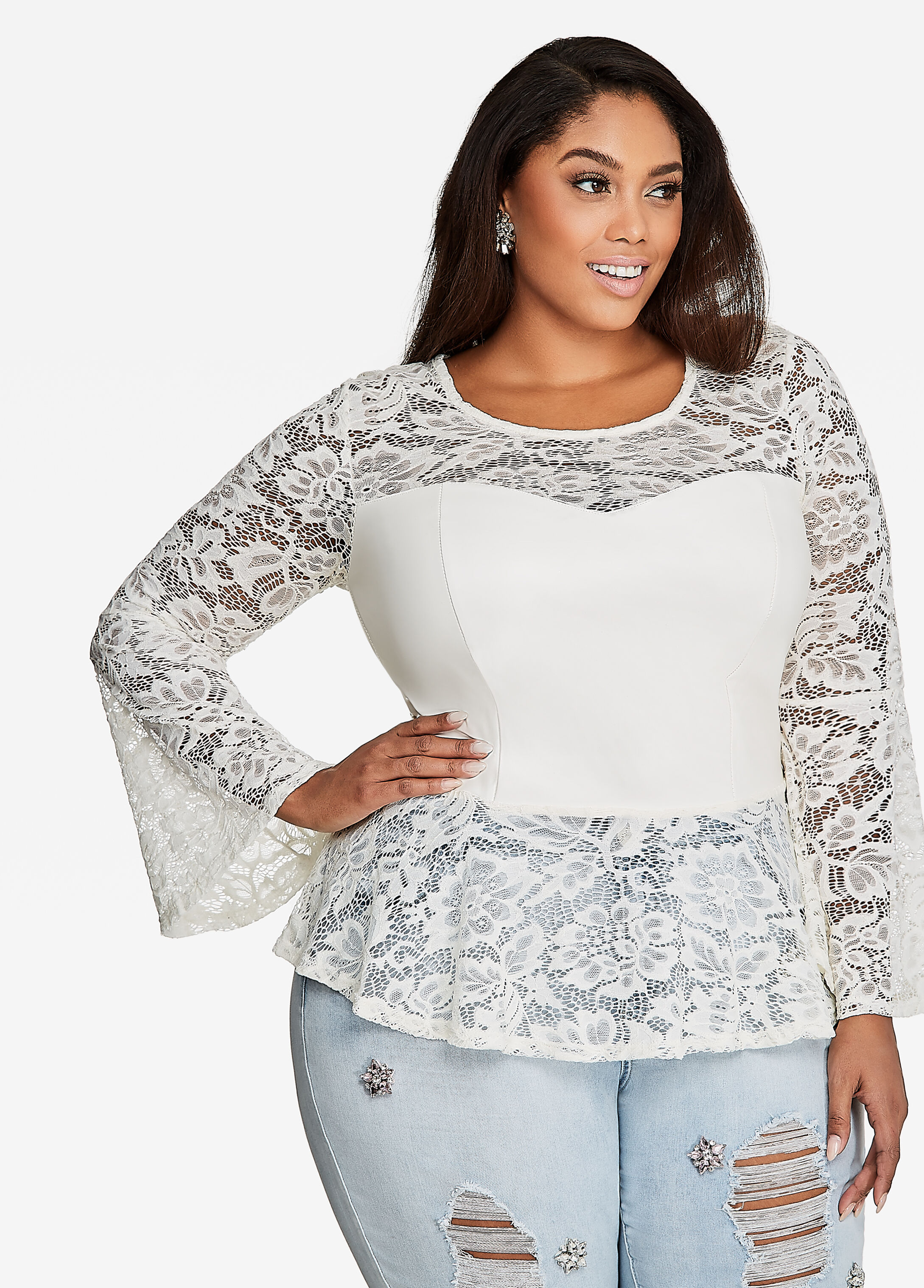 Lace and Pleather Peplum Top Egg Nog - Tops
