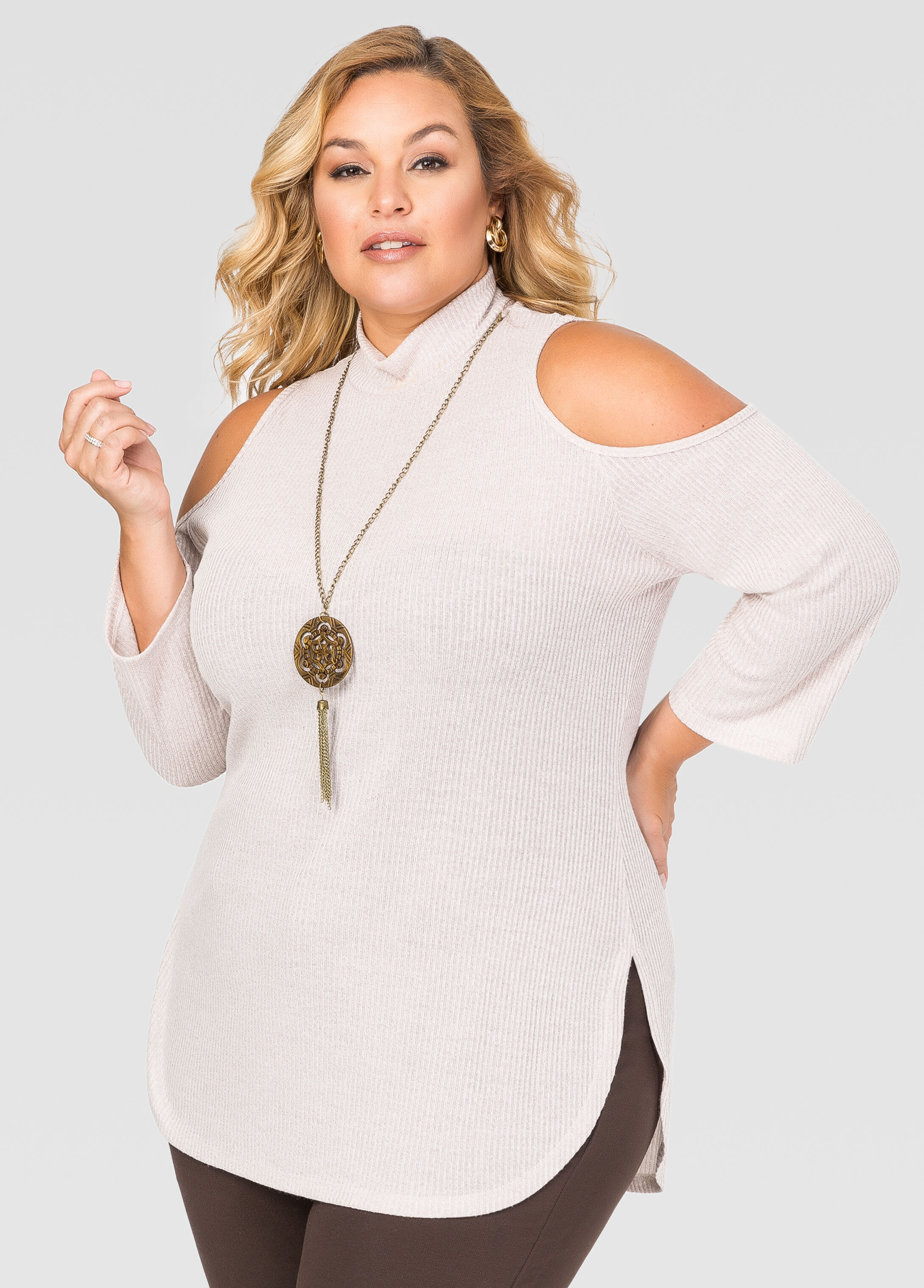 Cold Shoulder Necklace Sweater