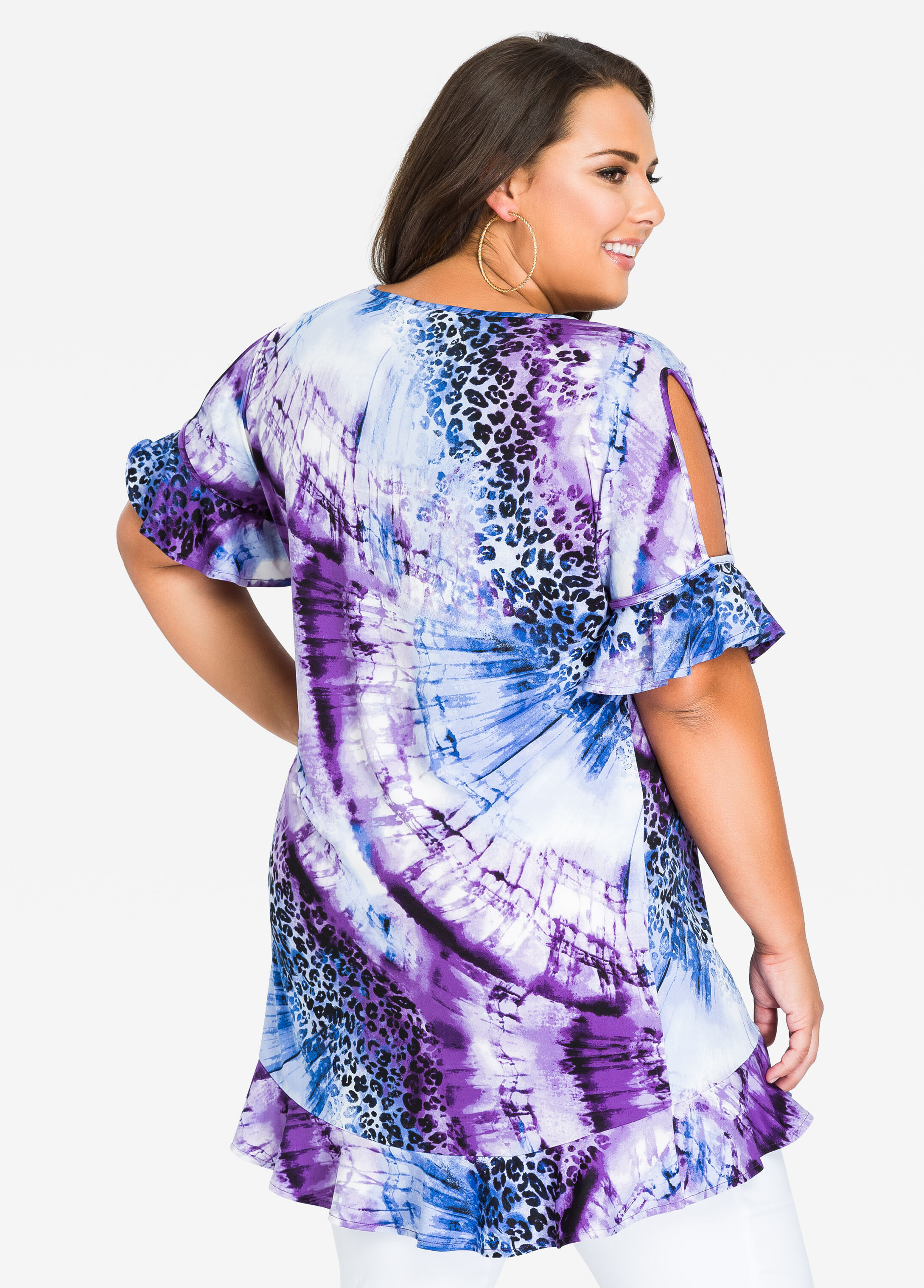 Cold Shoulder Printed Top with Ruffles
