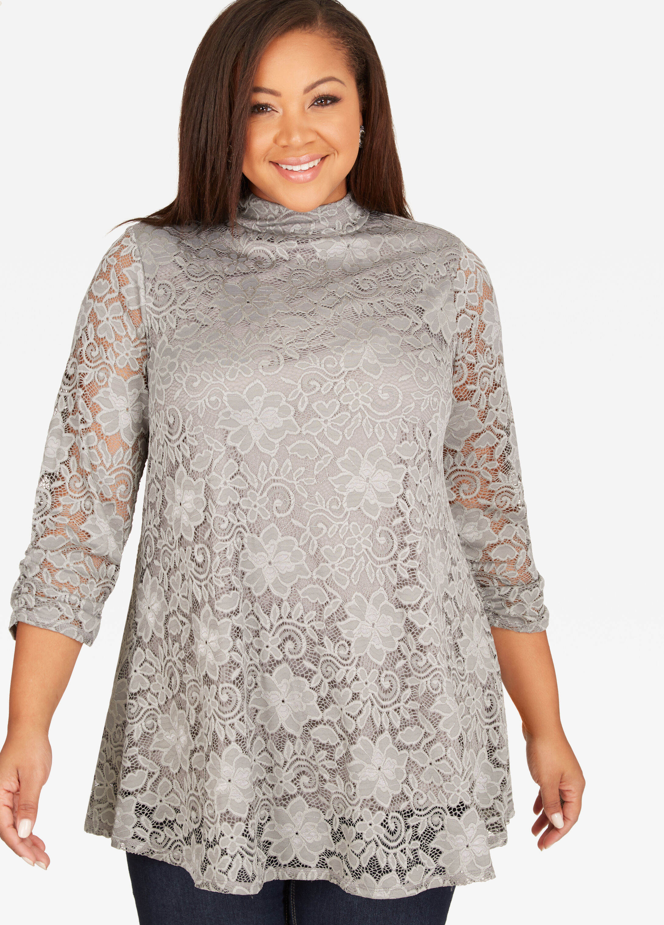 Lace Dress Top Silver Filigree - Tops