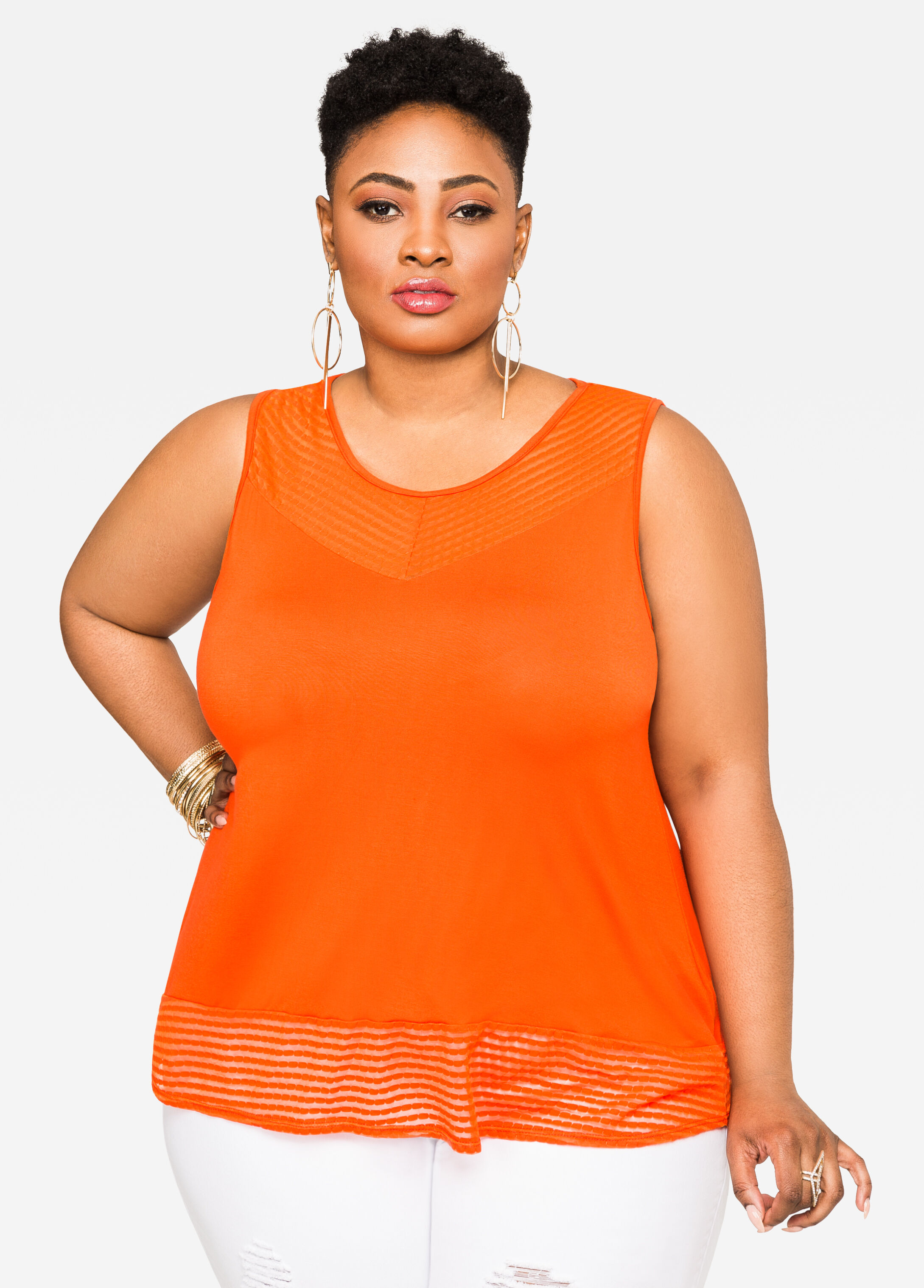Knit Tank with Mesh Insets Orange.Com - Clearance