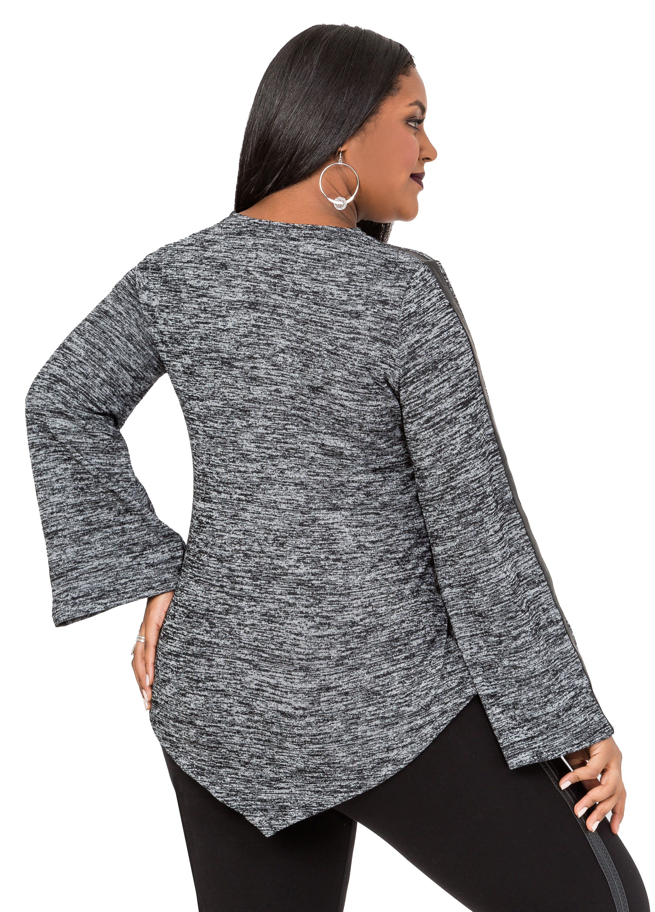 Faux Leather Trim Marled Sweater