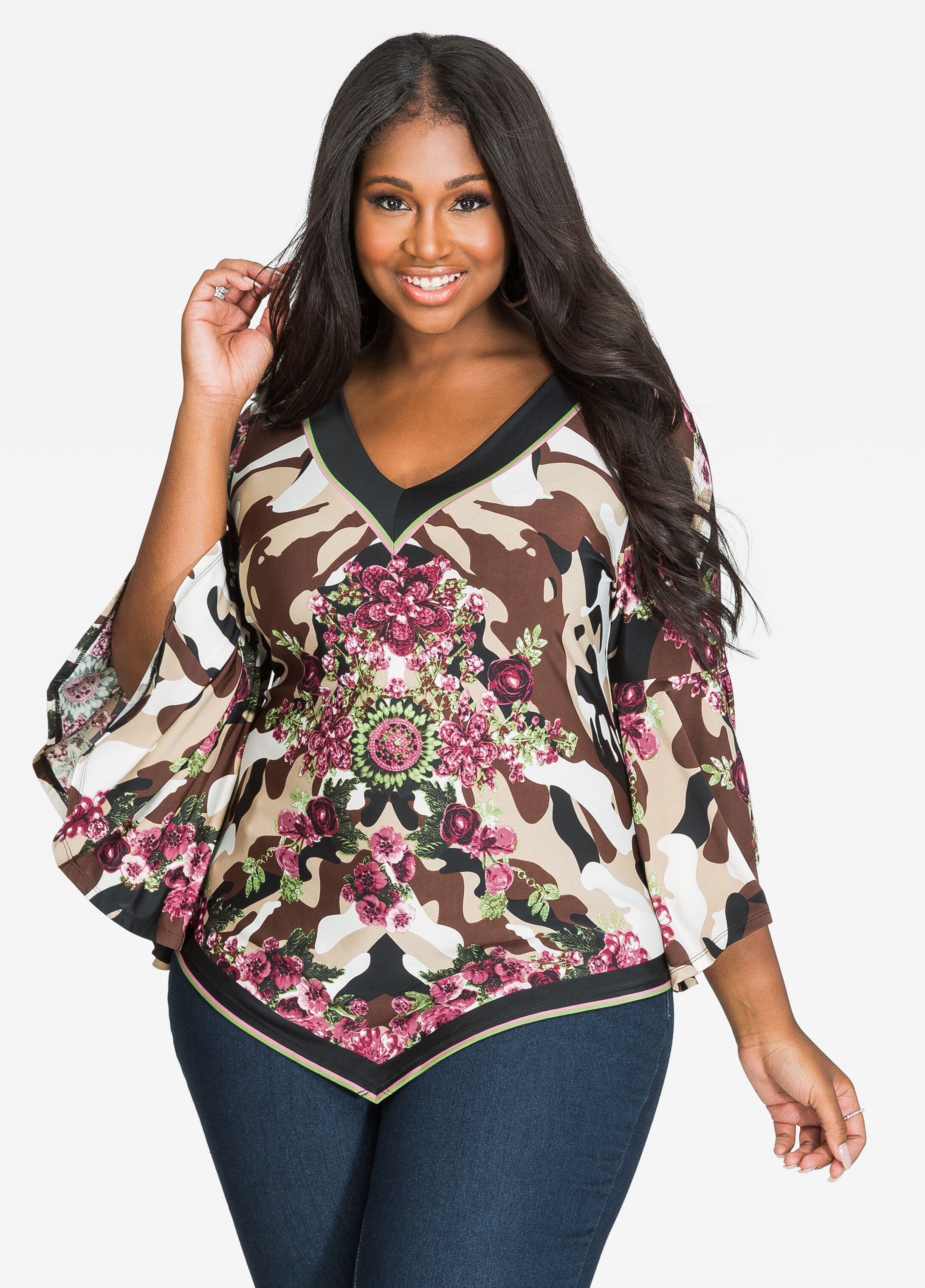 Camo N Floral Bell Sleeve V-Neck Top