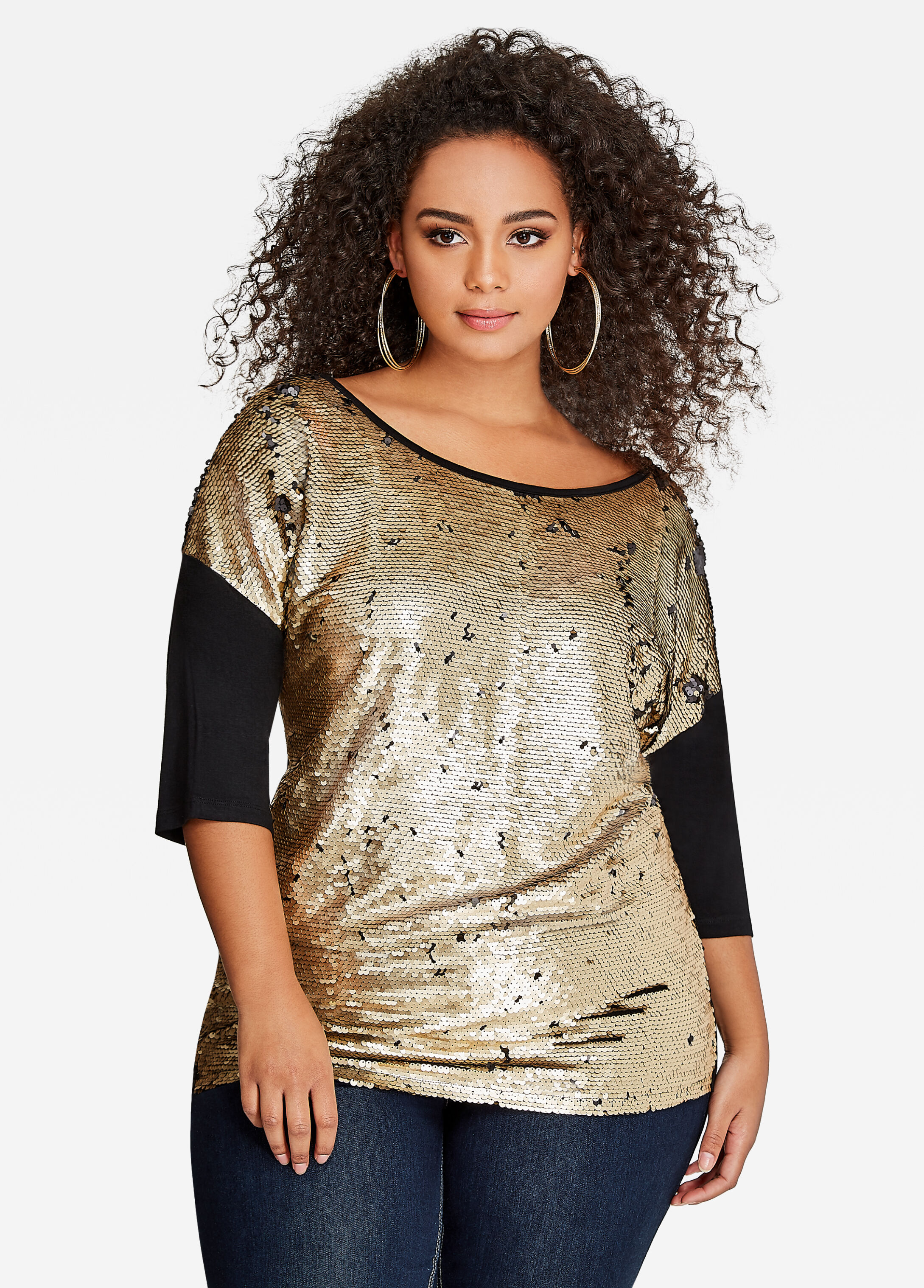 Long-Sleeve Dolman Sequin Top