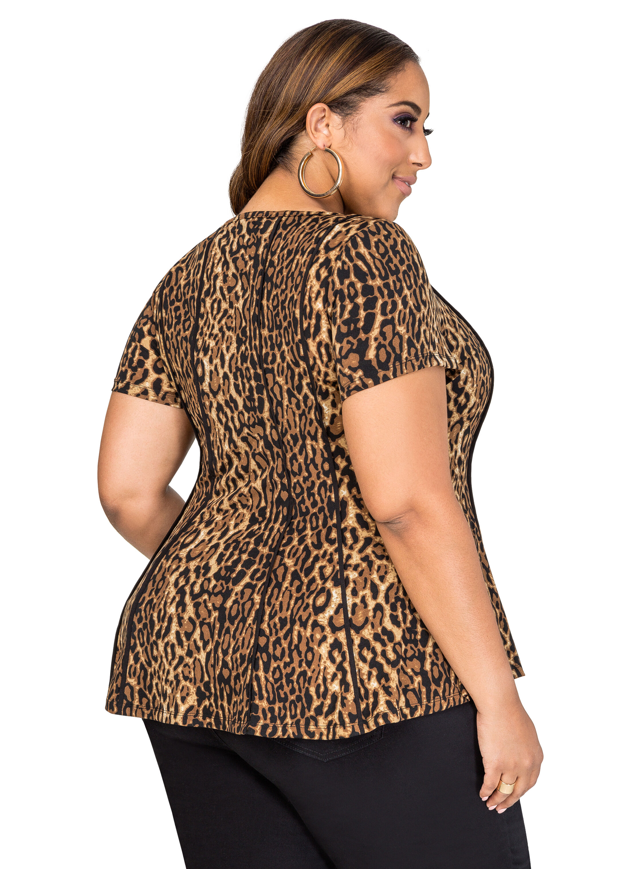 Animal Piped Peplum Top
