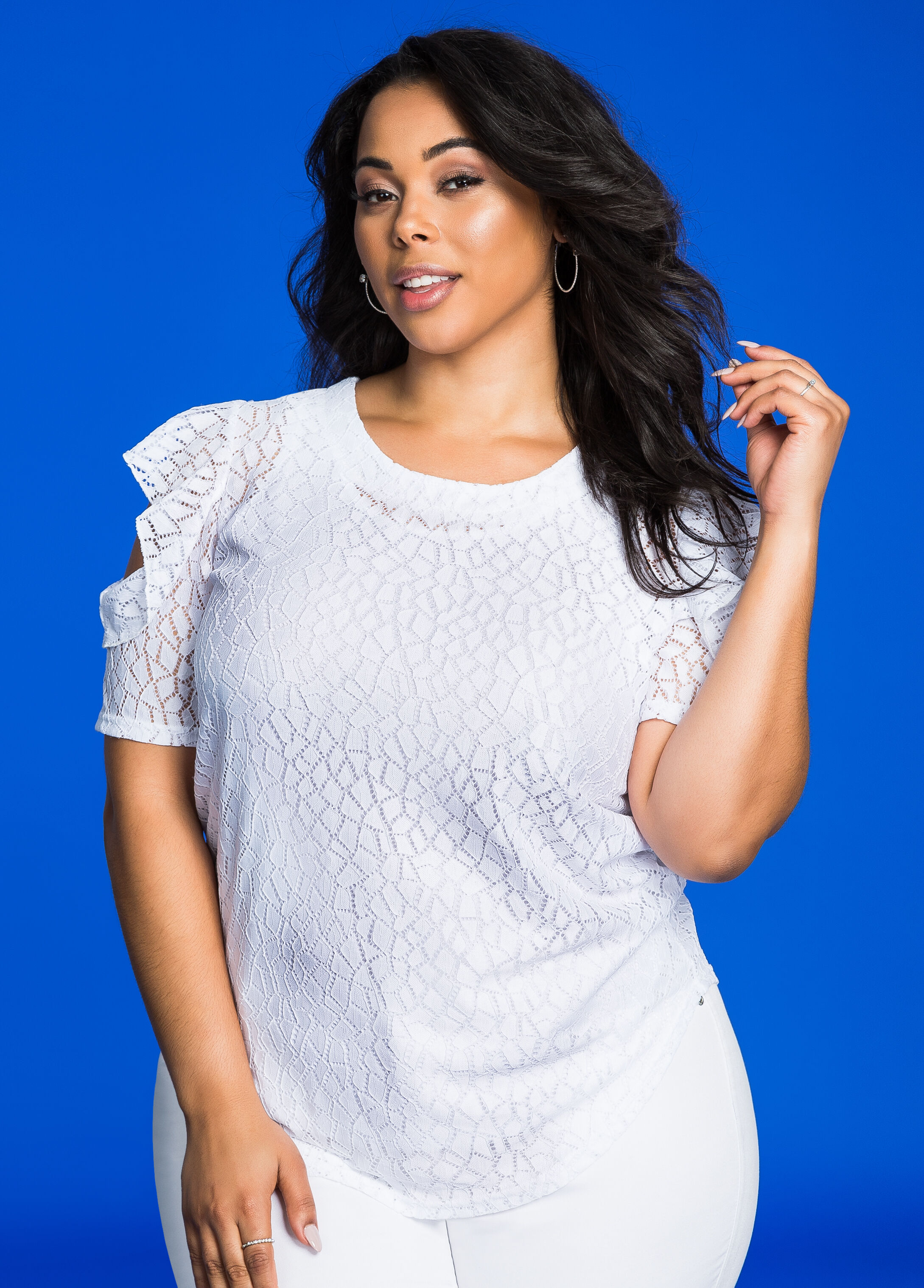 Geo Lace Overlay Flutter Sleeve Top