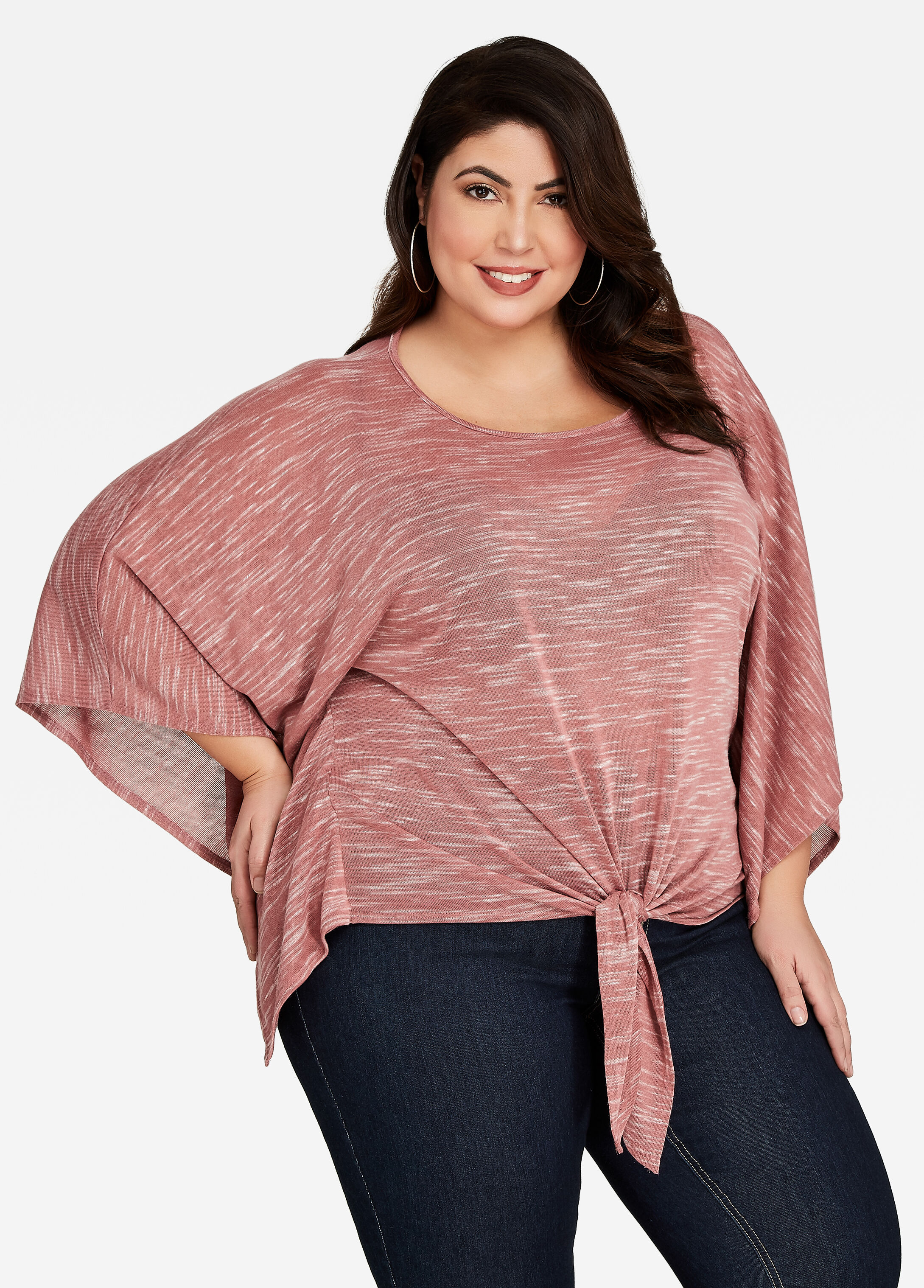 Scoop Neck Tie Front Knit Poncho