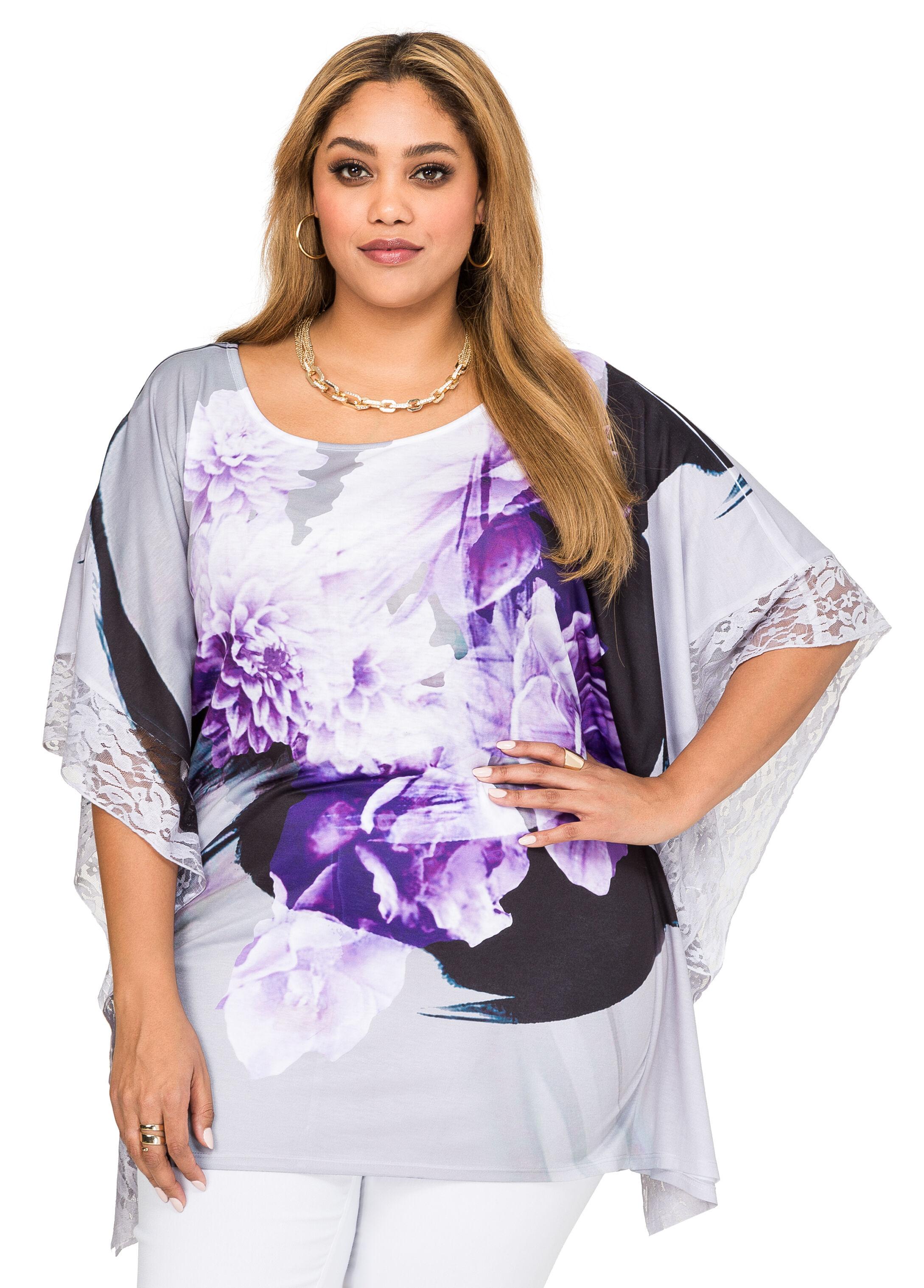 Watercolor Floral Poncho Top