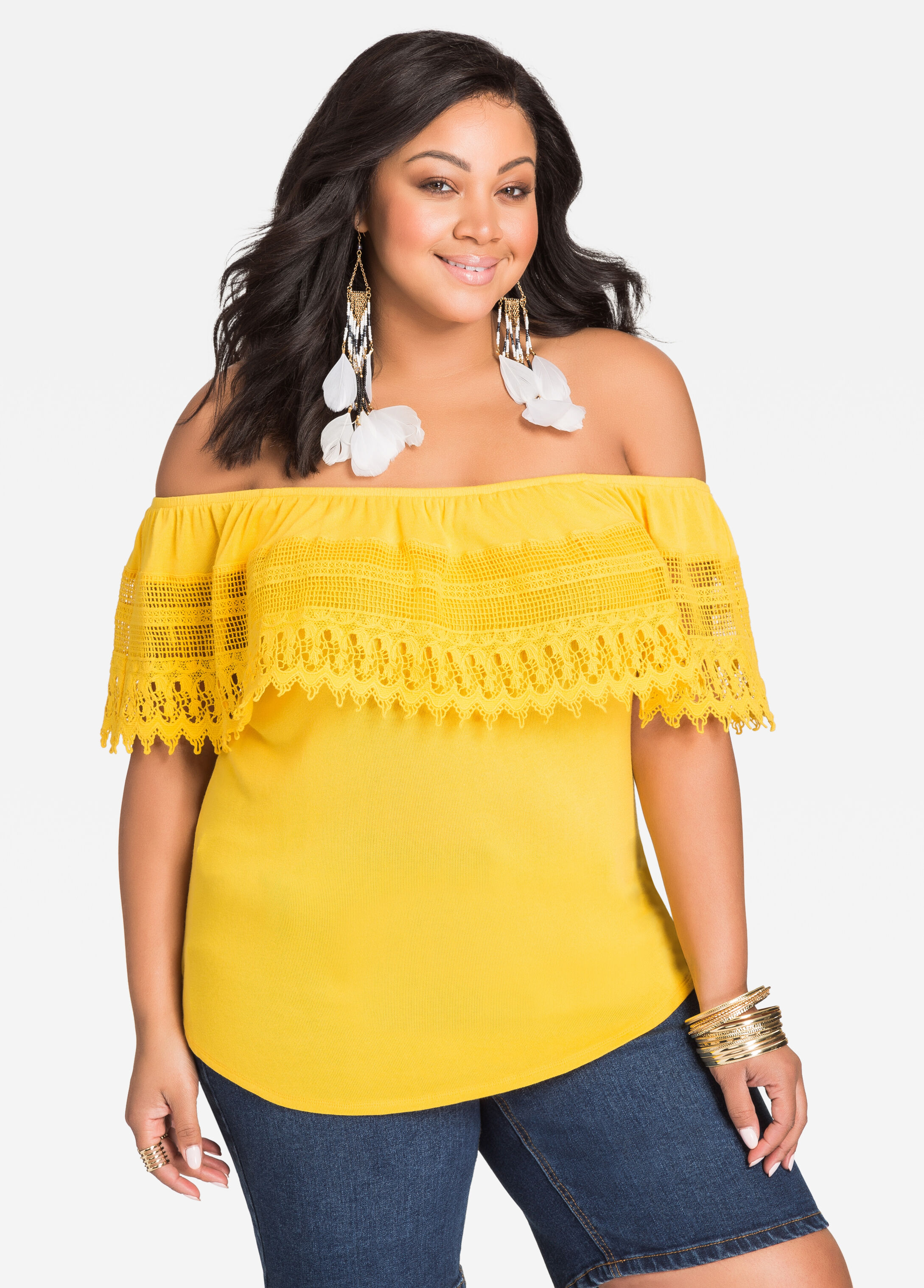 Crocheted Lace Off-Shoulder Top