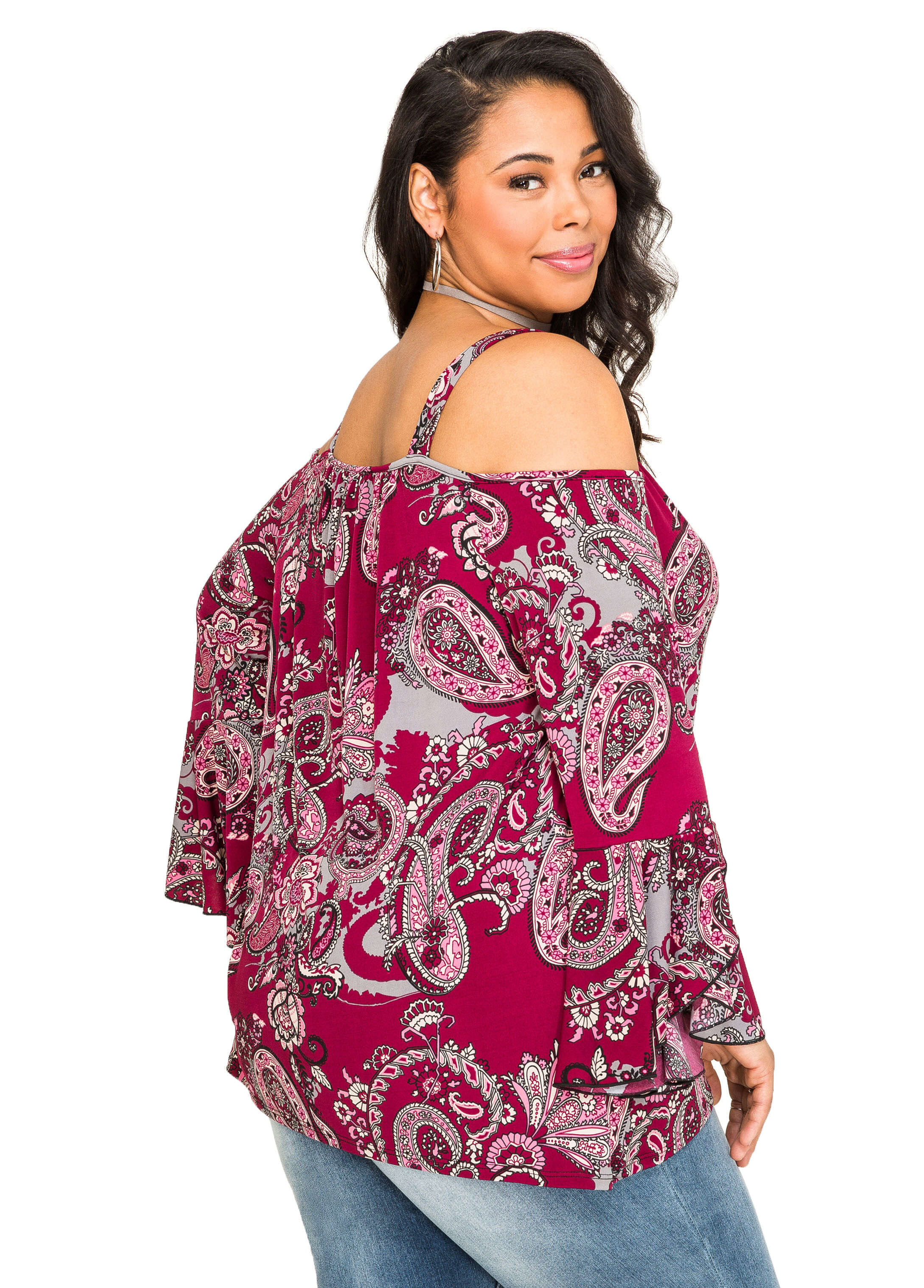 Paisley Bell Sleeve Cold Shoulder Top