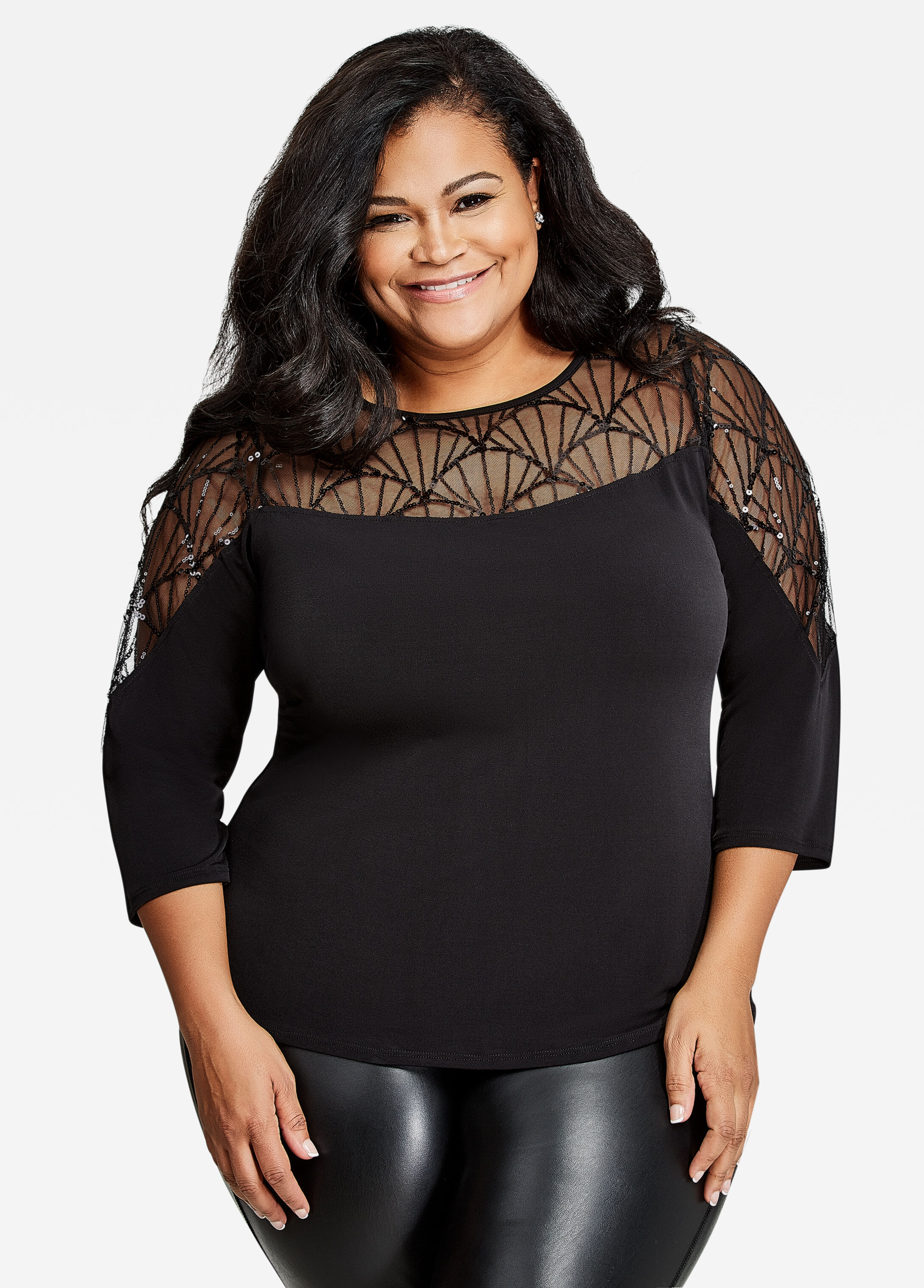 3/4 Sleeve Sheer Mesh Sequin Top