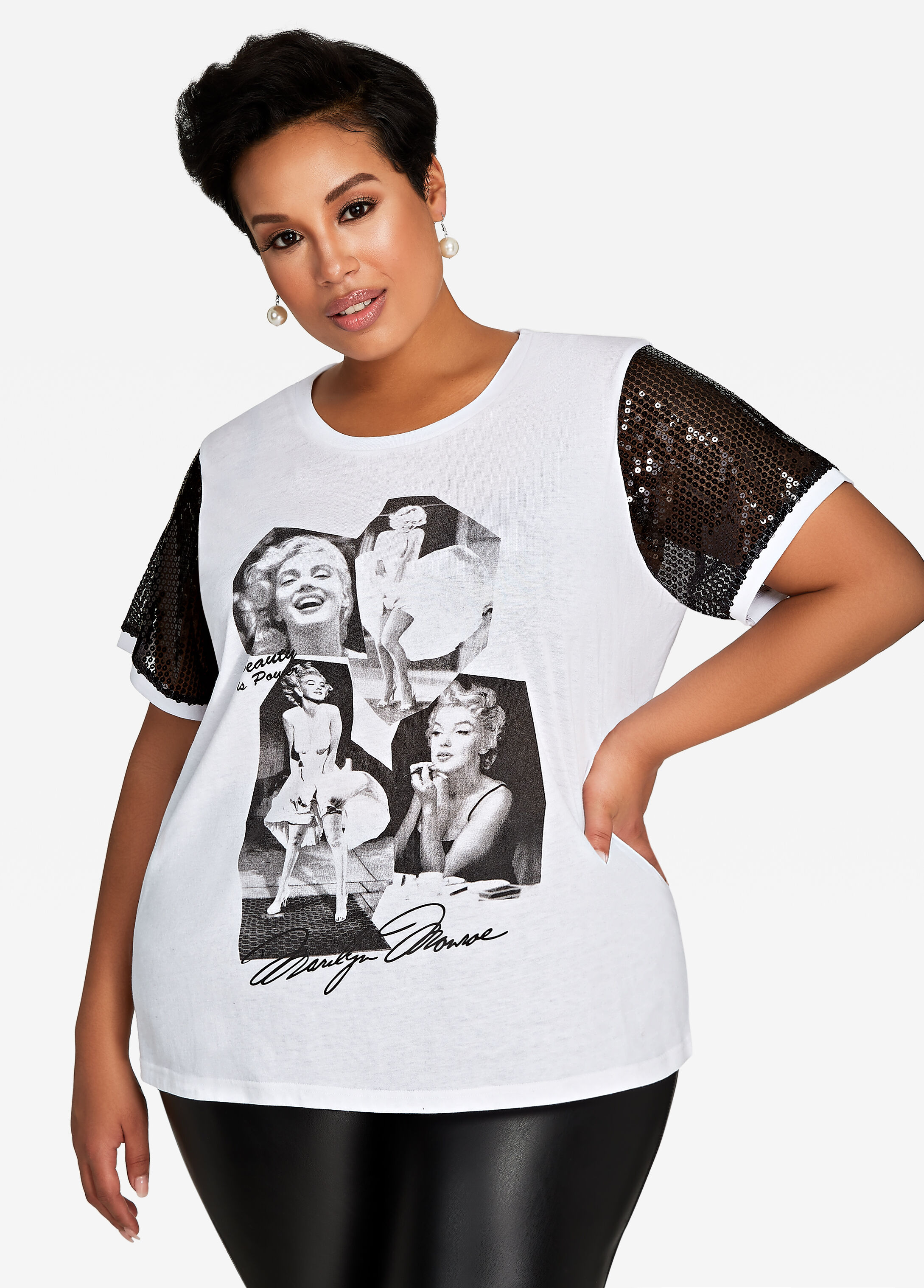 Sequin Short Sleeve Marilyn Tee