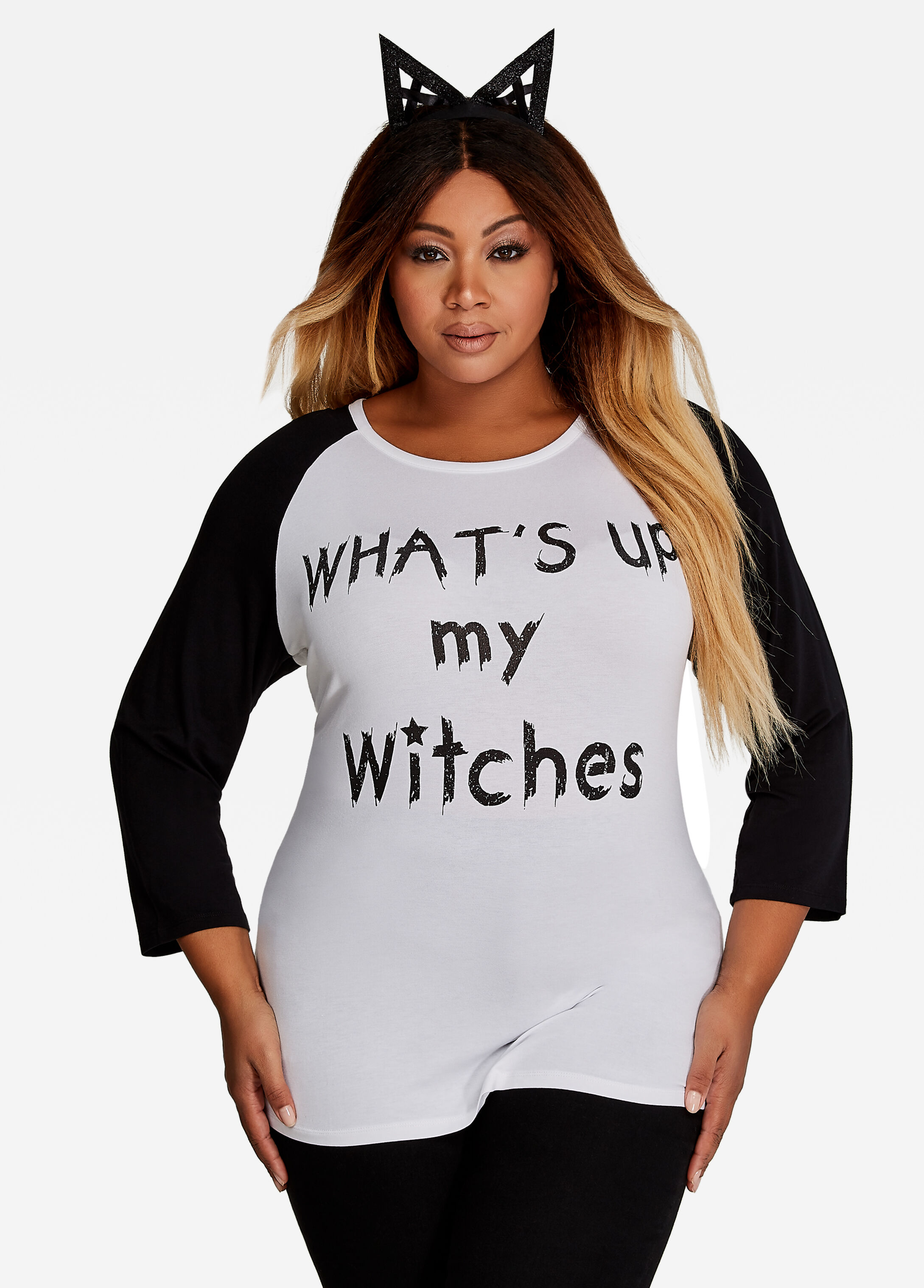 Three-Quarter Sleeve What's Up My Witches Tee White - Clearance