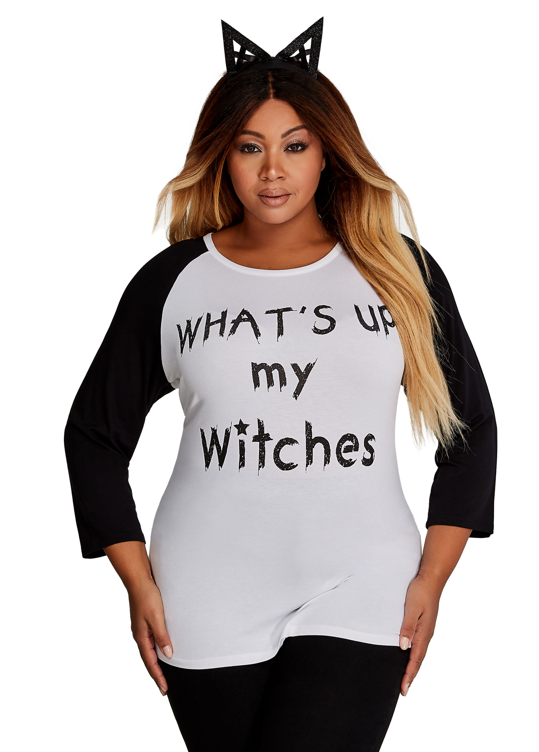 Three-Quarter Sleeve What's Up My Witches Tee
